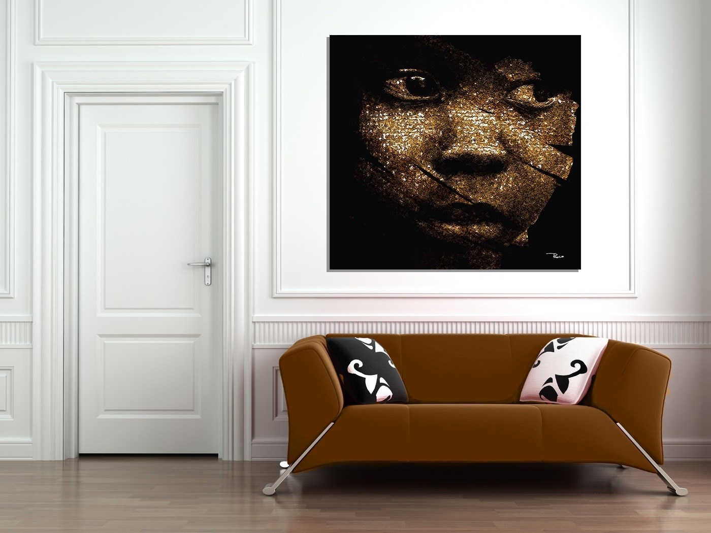 African Sad, original Big Canvas Painting by Rui Mendes (Ruca)