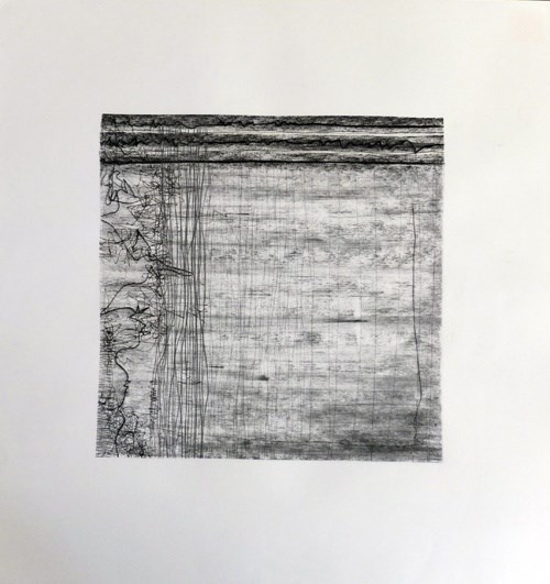 Evan Parker – Drawn Inward I , original Abstract Charcoal Drawing and Illustration by Mariana Alves