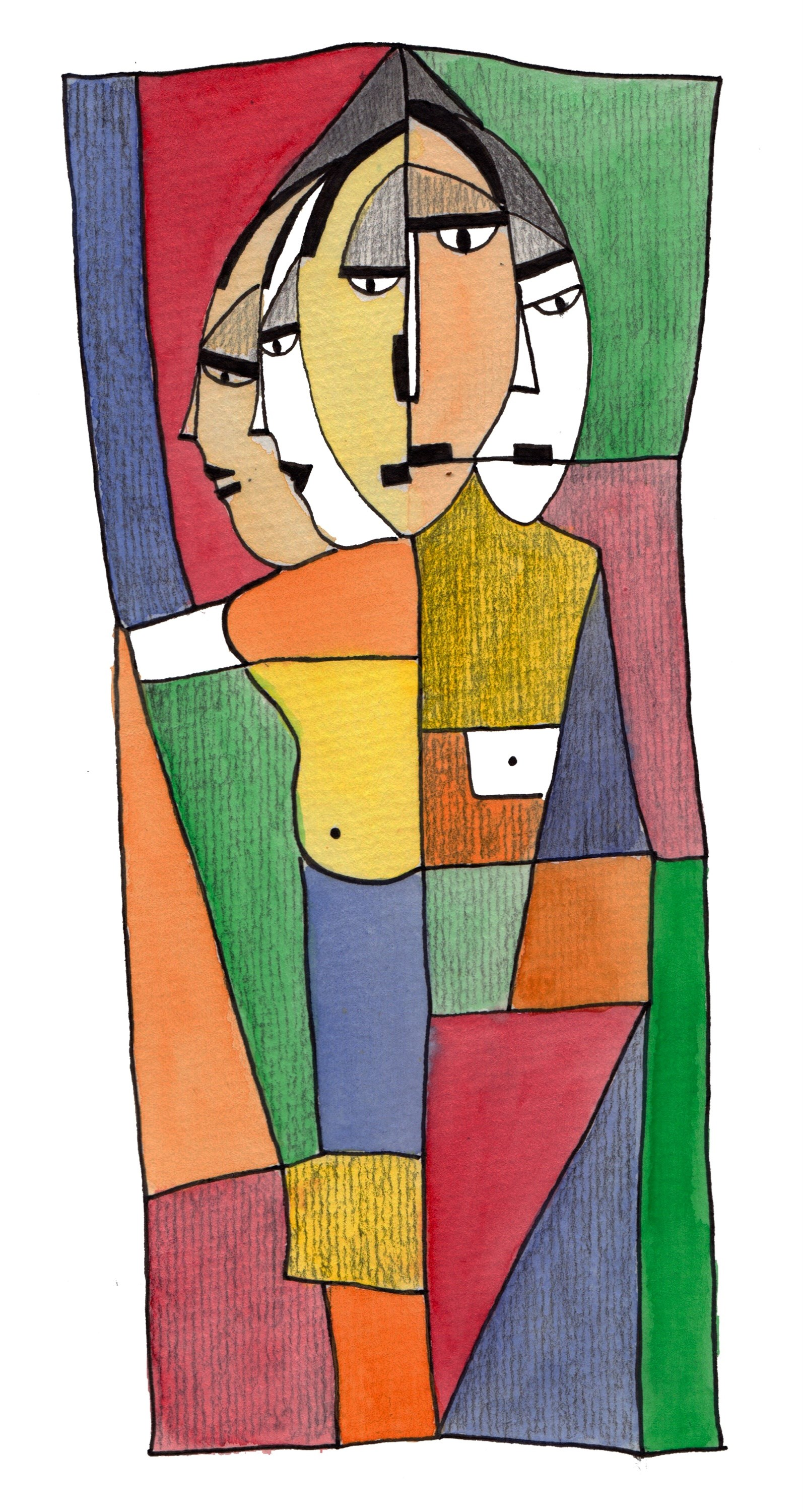 5 primos, original Abstract Ink Drawing and Illustration by Inês Peres