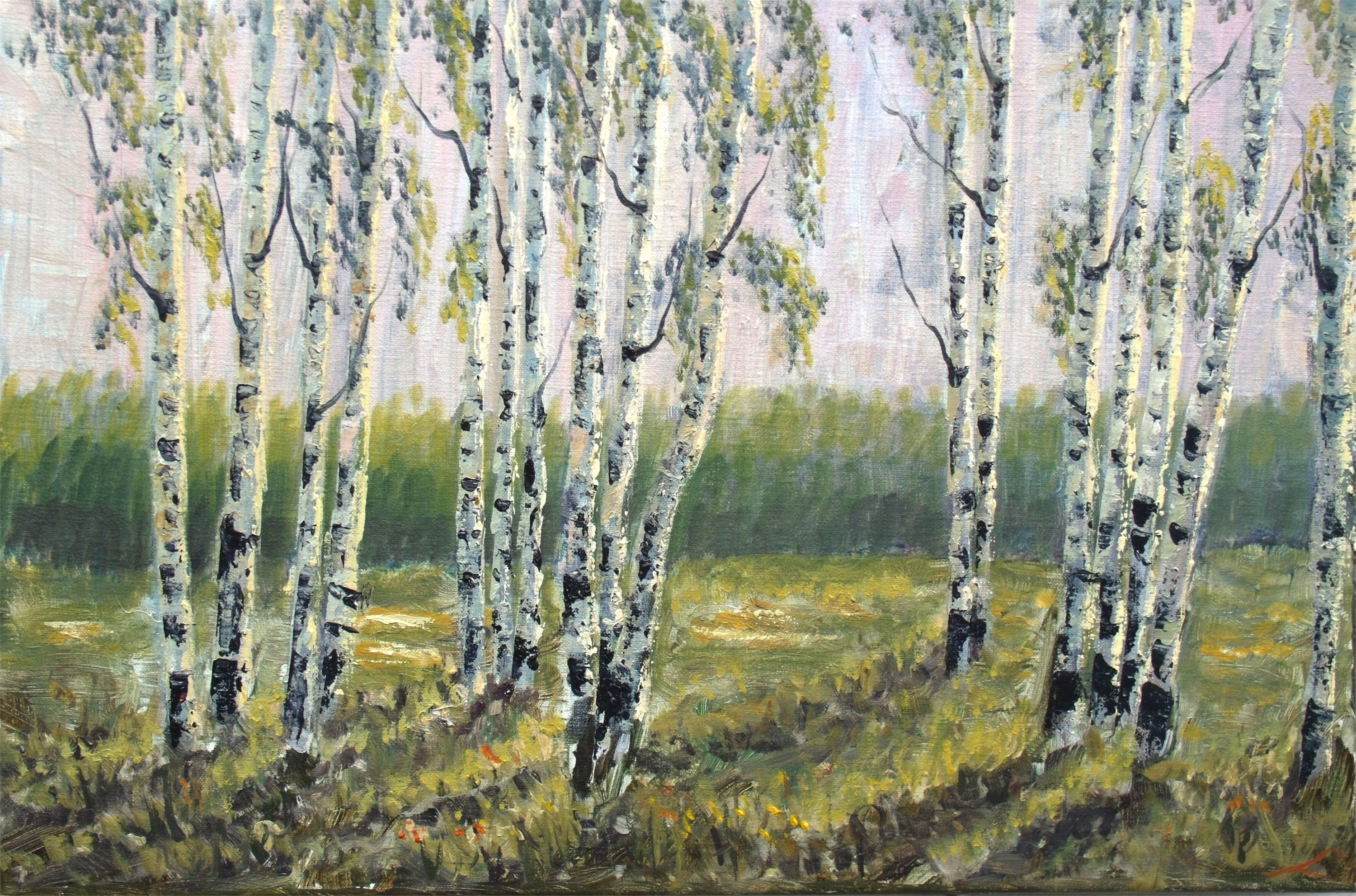 Spring bearches, original Landscape Canvas Painting by Elena Sokolova