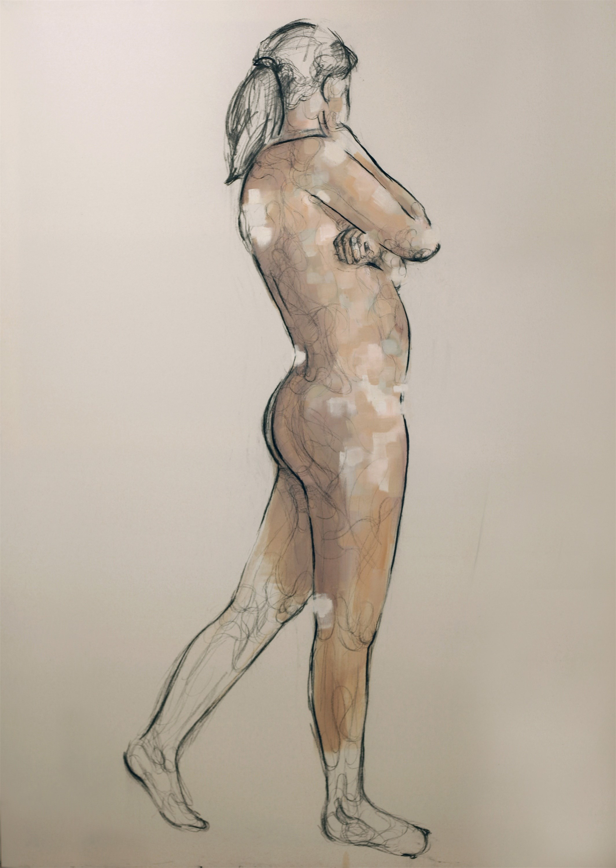 Nude 4, original Big Canvas Painting by Giorgos Kapsalakis