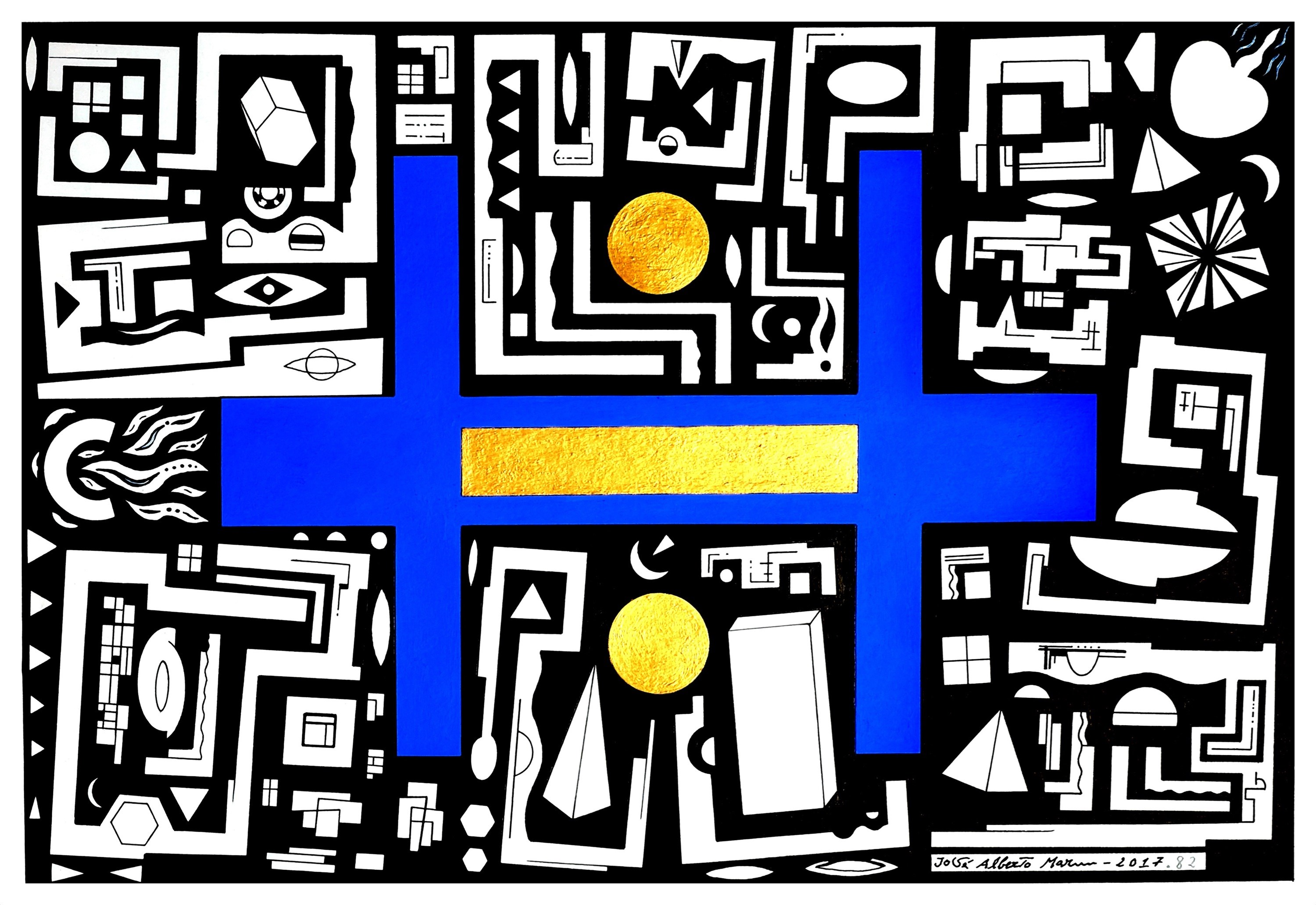 Série: pequenas sabedorias. Series: small wisdoms (Nº82), original Geometric Acrylic Painting by José Alberto Mar
