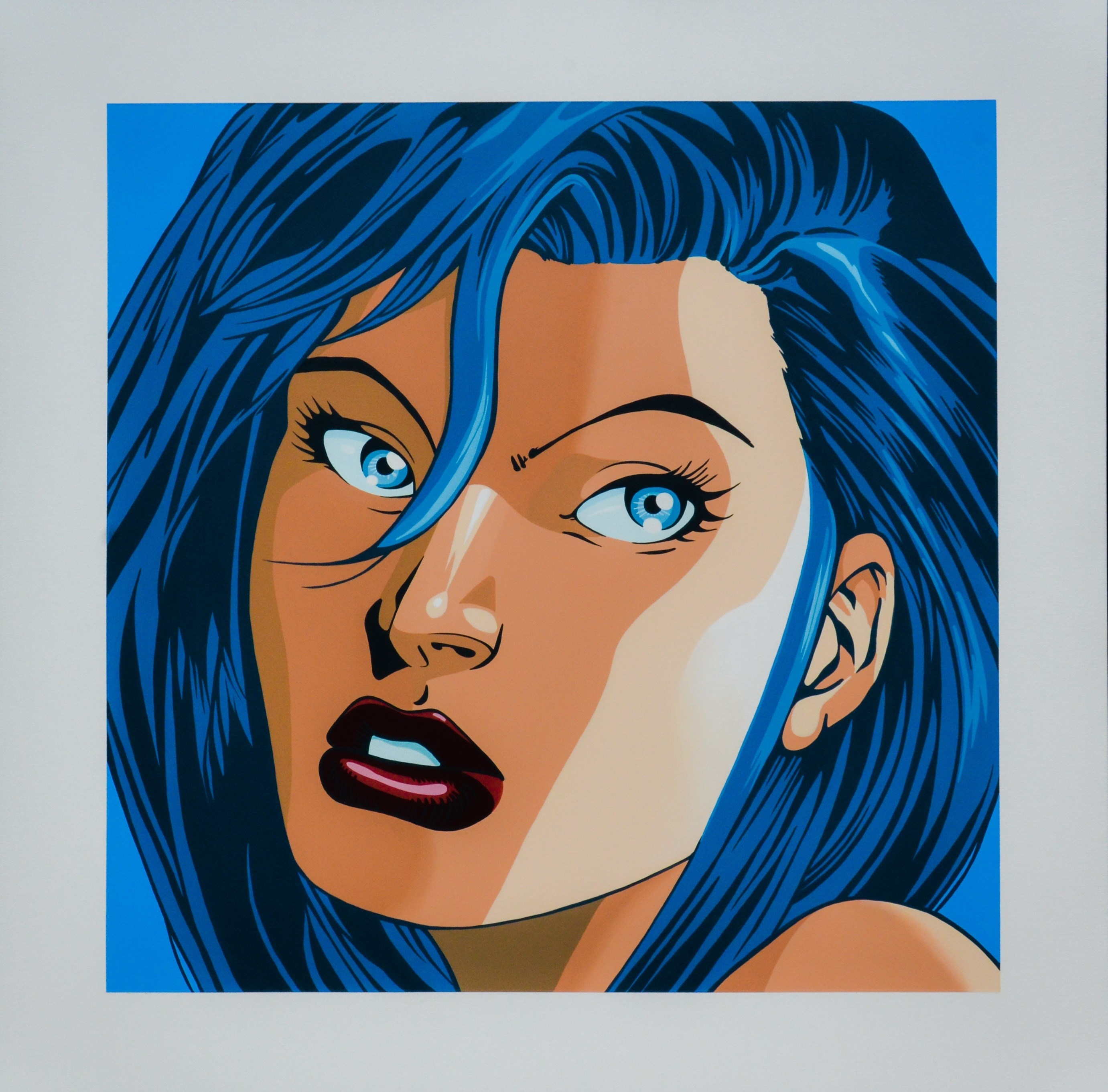 Blue Hair, original Avant-Garde Acrylic Painting by Nuno Raminhos