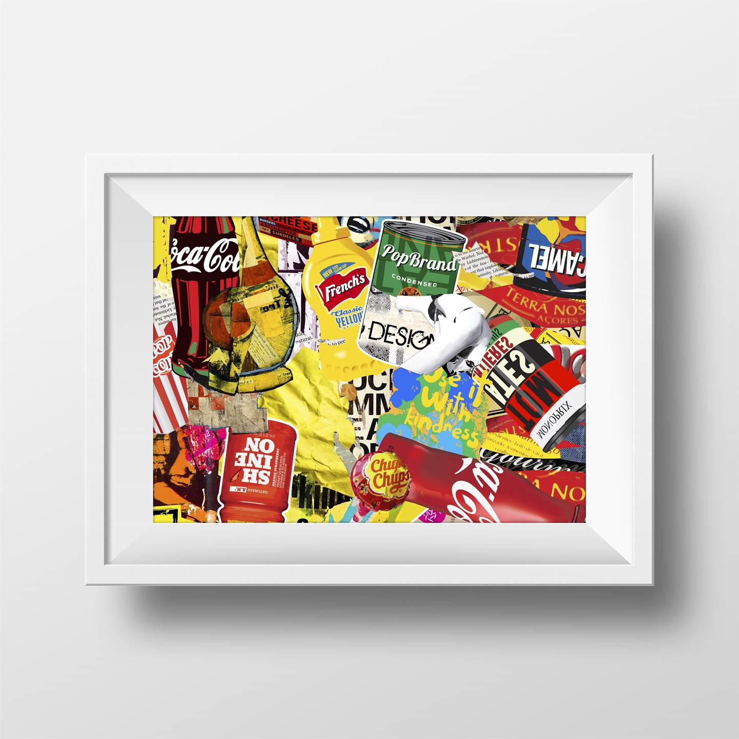 Pop Brands, original Avant-Garde Collage Drawing and Illustration by Maria João Faustino