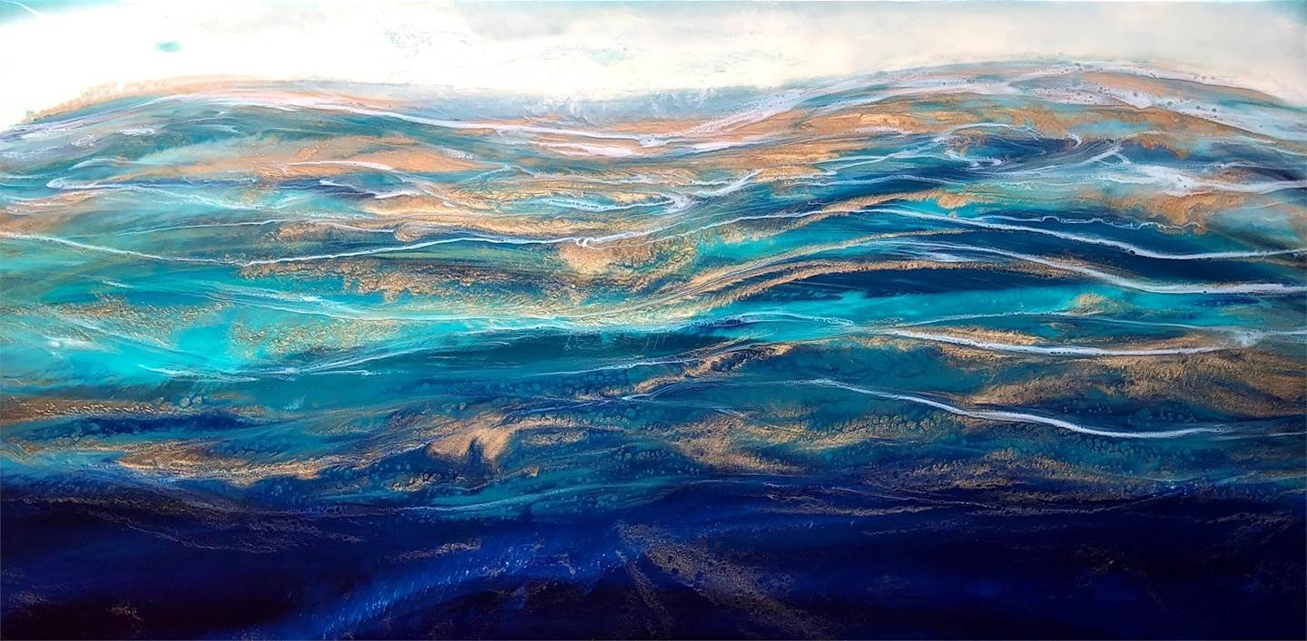 Ocean Aria, original Nature Mixed Technique Painting by Tiffani Buteau