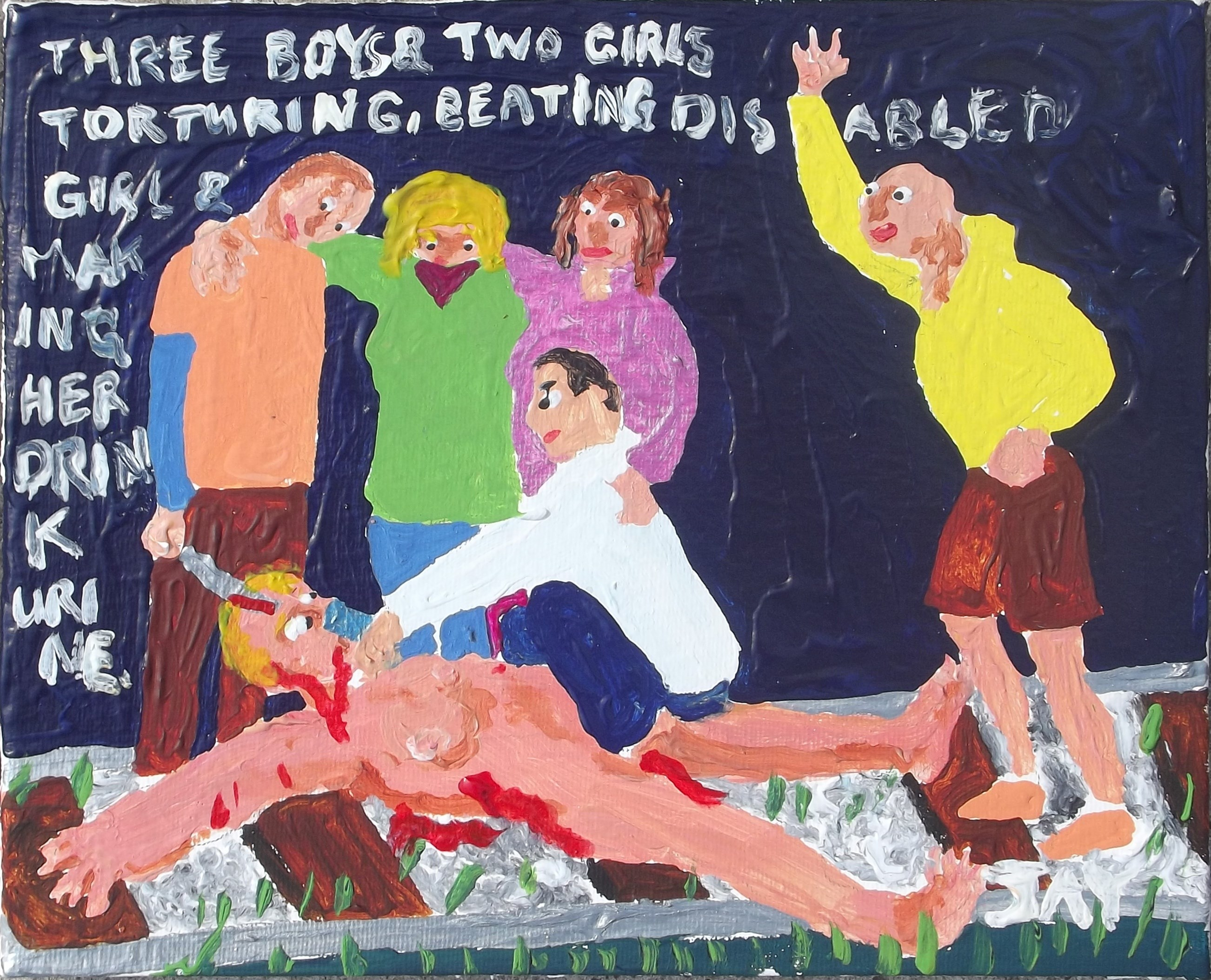 Three boys & two girls are torturing, beating disabled girl & making her drink urine., Pintura Acrílico Vanguarda original por Jay Rechsteiner