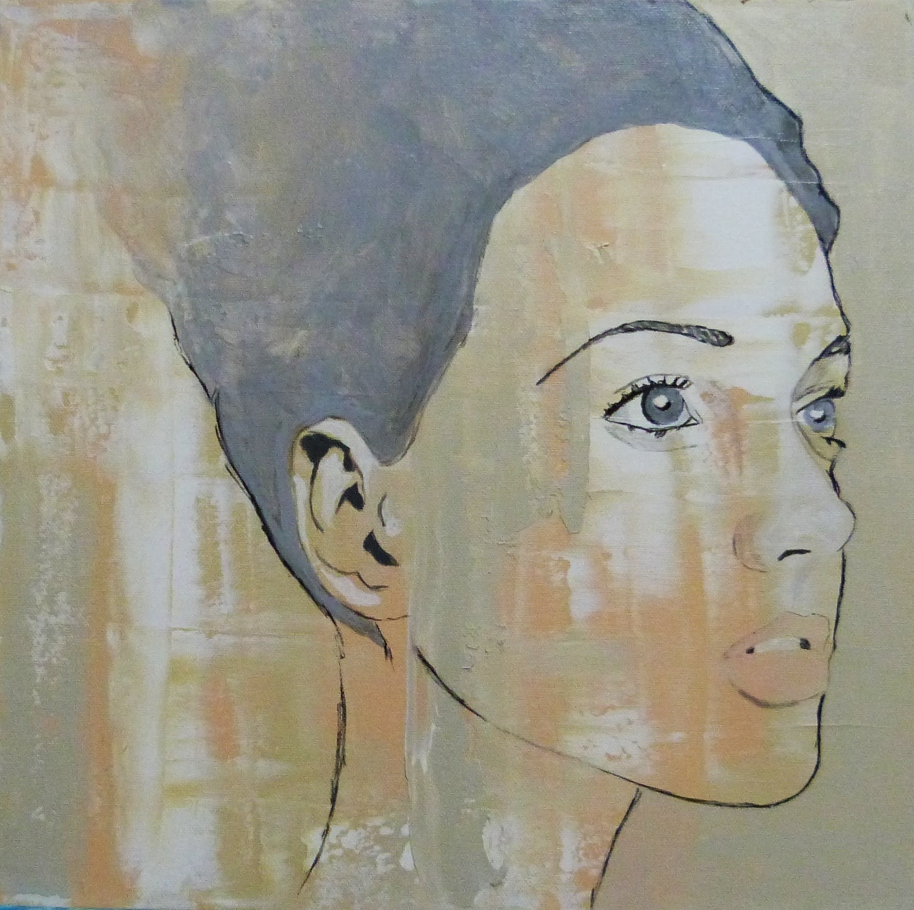 A rapariga-nuvem, original Human Figure Acrylic Painting by Joana Lopes