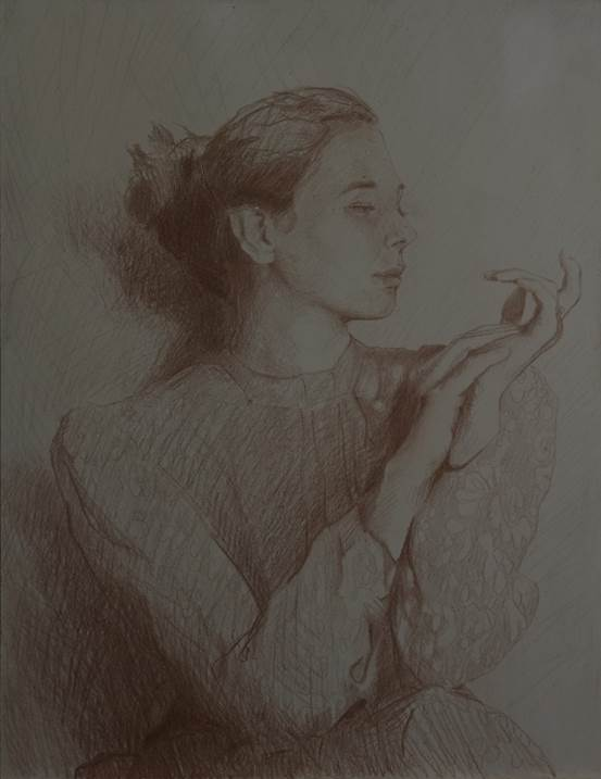 Woman in the Blue Shirt I, original Human Figure Pencil Drawing and Illustration by BeckenFilipe .