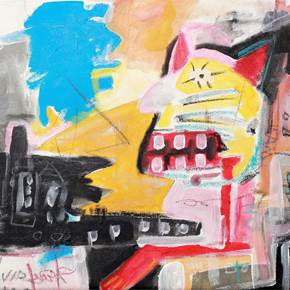 Cat driving a Bus, original Abstract Acrylic Painting by Flavio Man