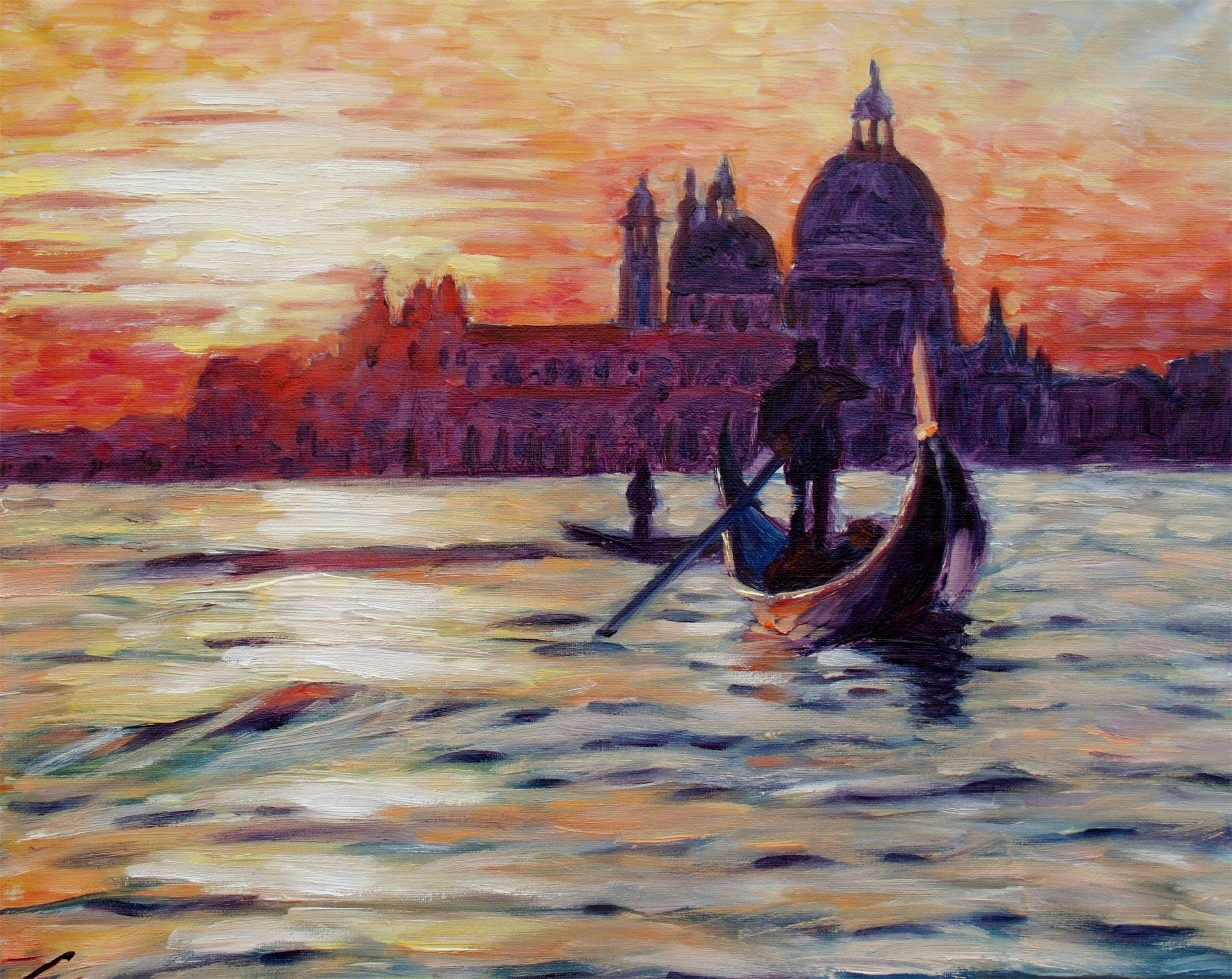 Sunset at Venice, original Landscape Canvas Painting by Elena Sokolova