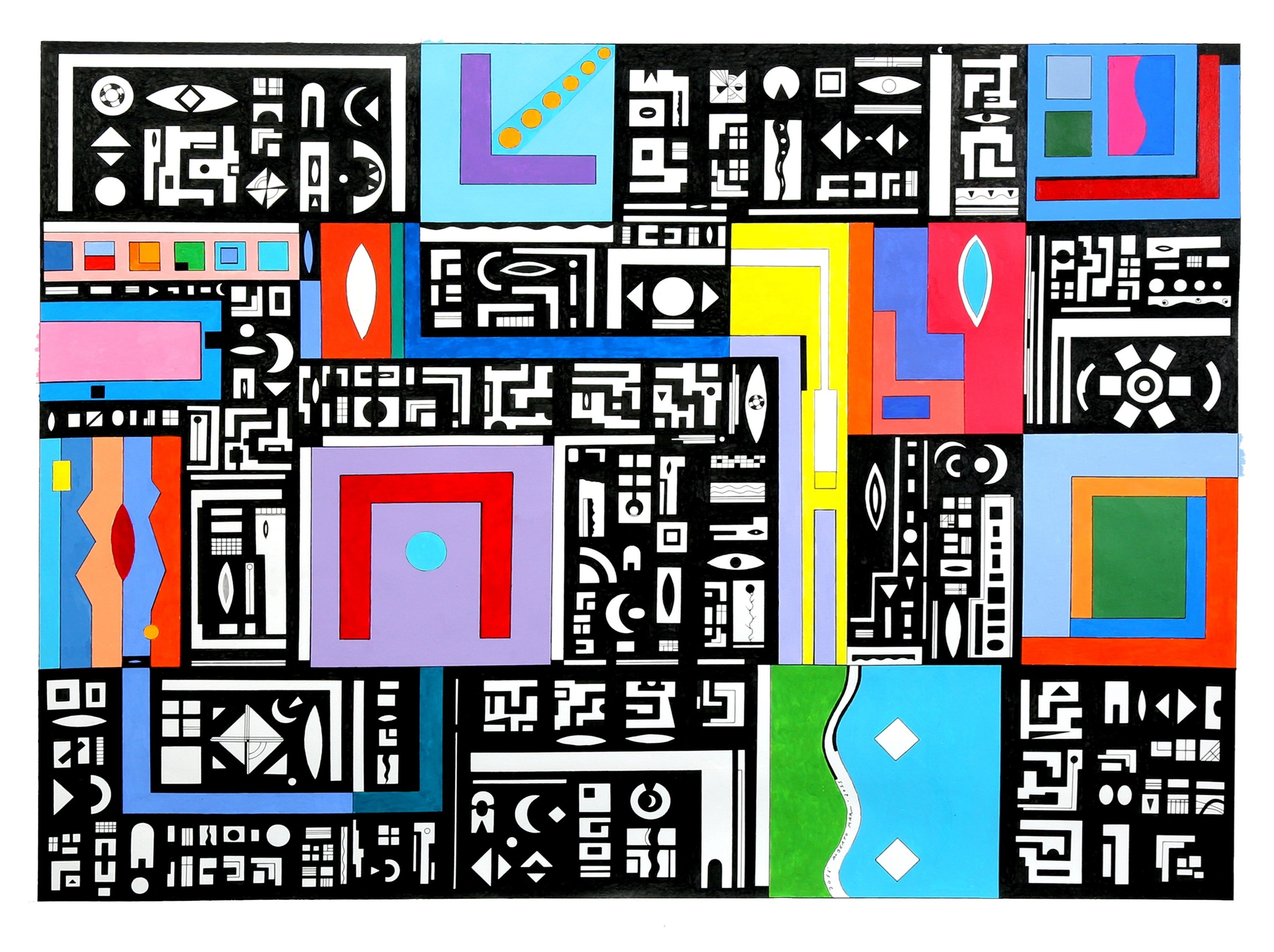 Novos Sinais. New Signs. , original Geometric Acrylic Painting by José Alberto Mar