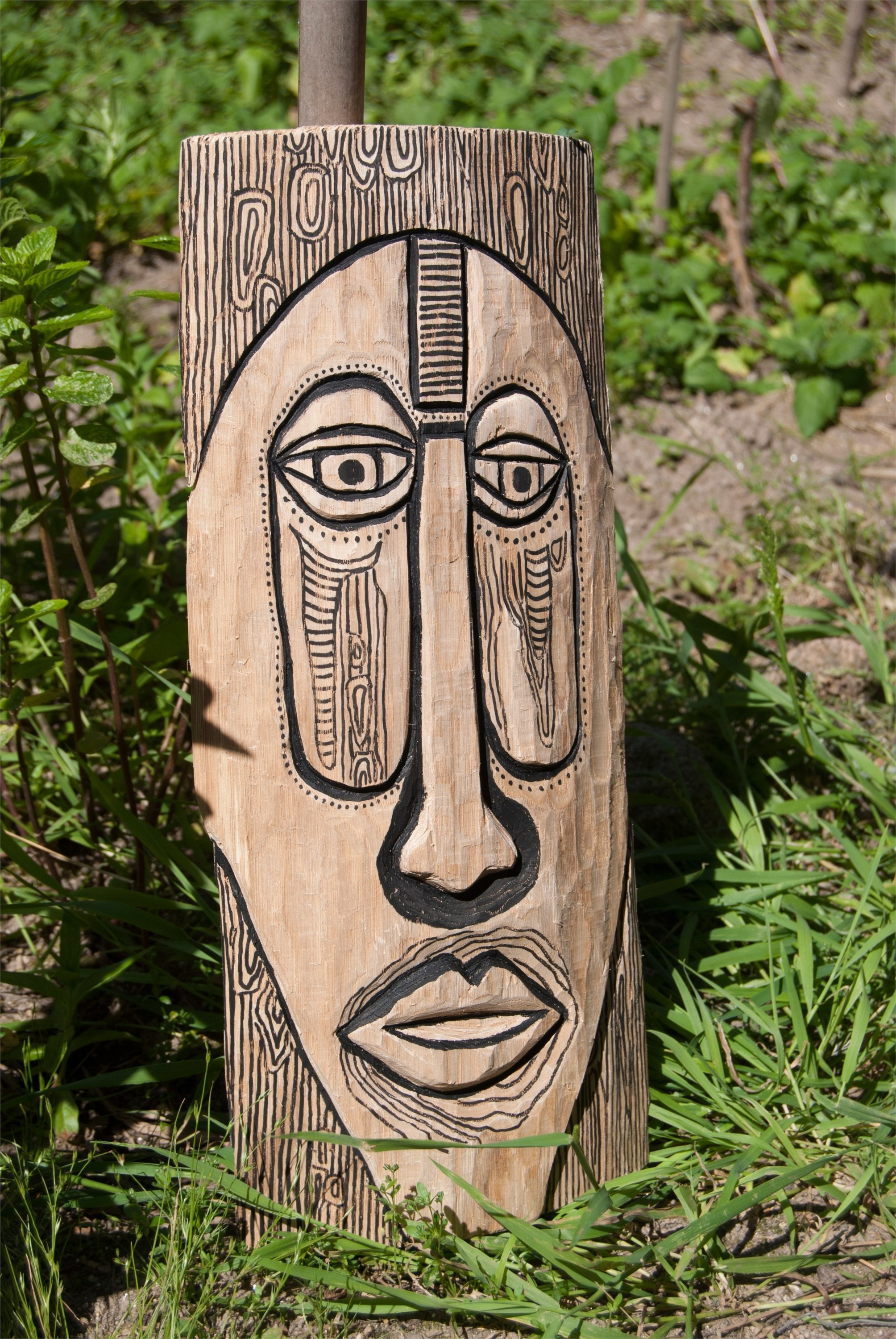 Wood mask, original Abstract Wood Sculpture by Inês Peres