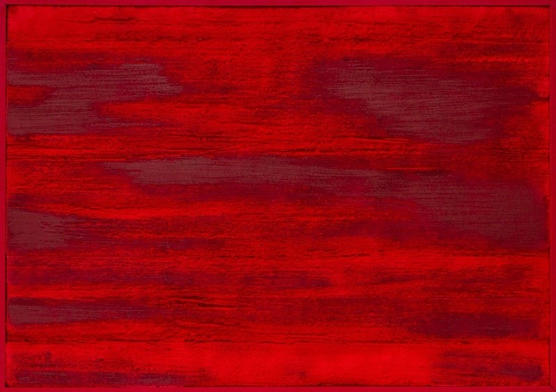 Underneath_the_red_surface, Pintura Acrílico Abstracto original por Peter Foesters