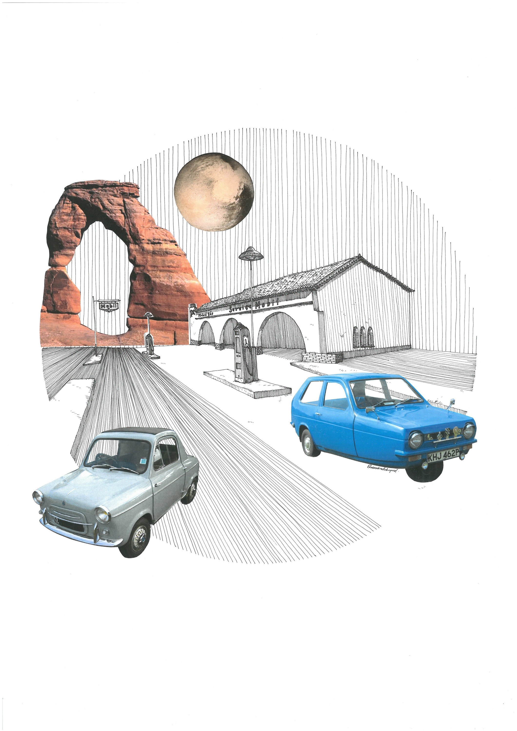 Reliant Robin, original Architecture Collage Drawing and Illustration by Florisa Novo Rodrigues