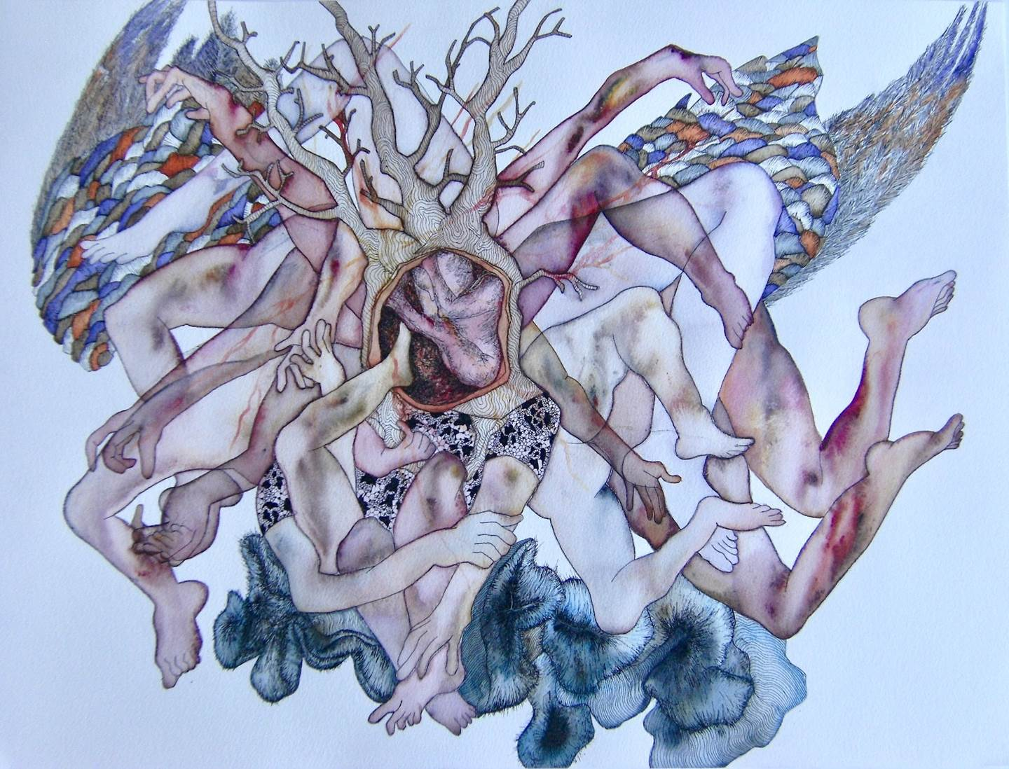 Arbre, original Body Watercolor Drawing and Illustration by lorinet julie