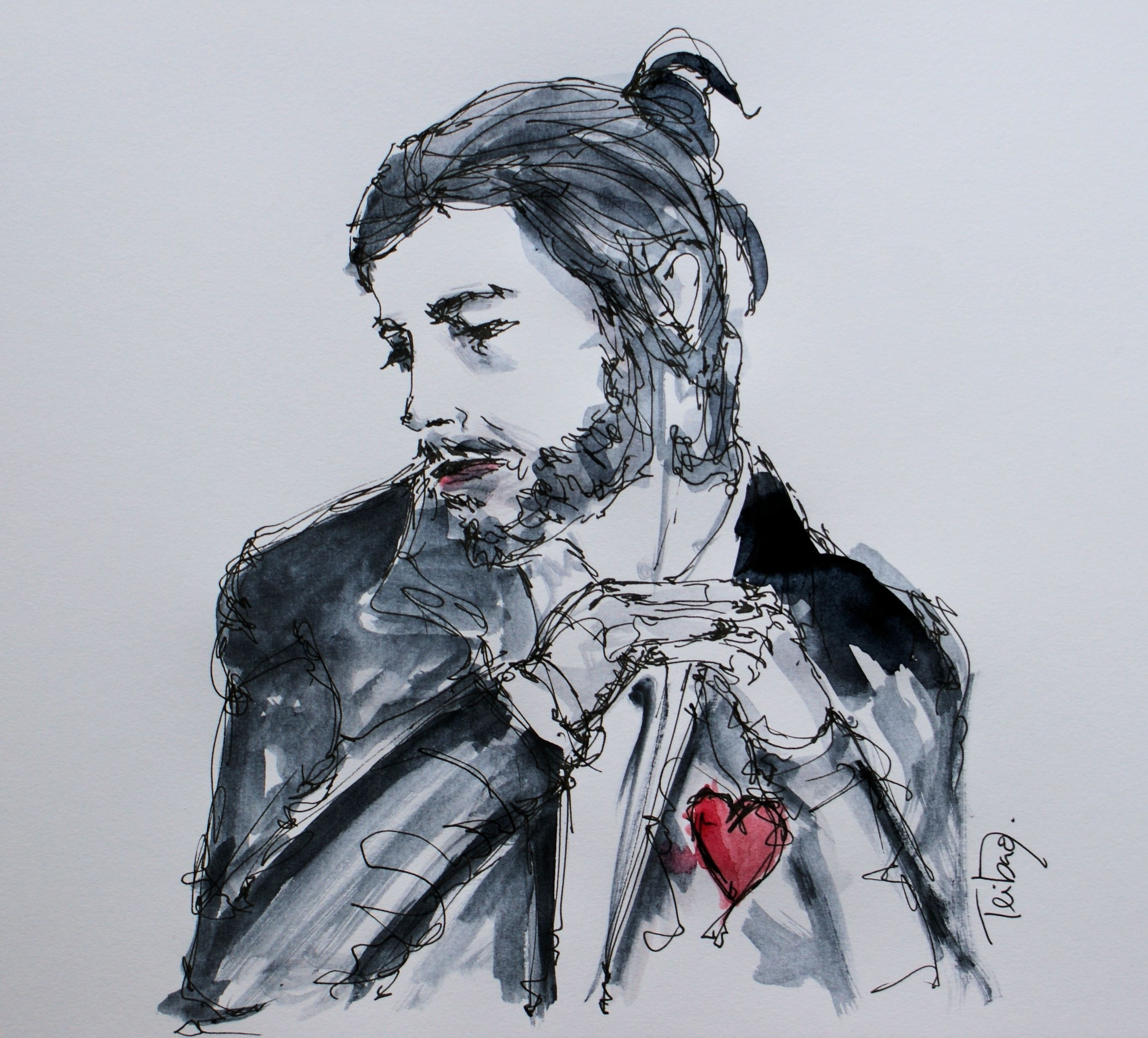 Tributo a Salvador Sobral, original Man Pen Drawing and Illustration by Zé Teibão
