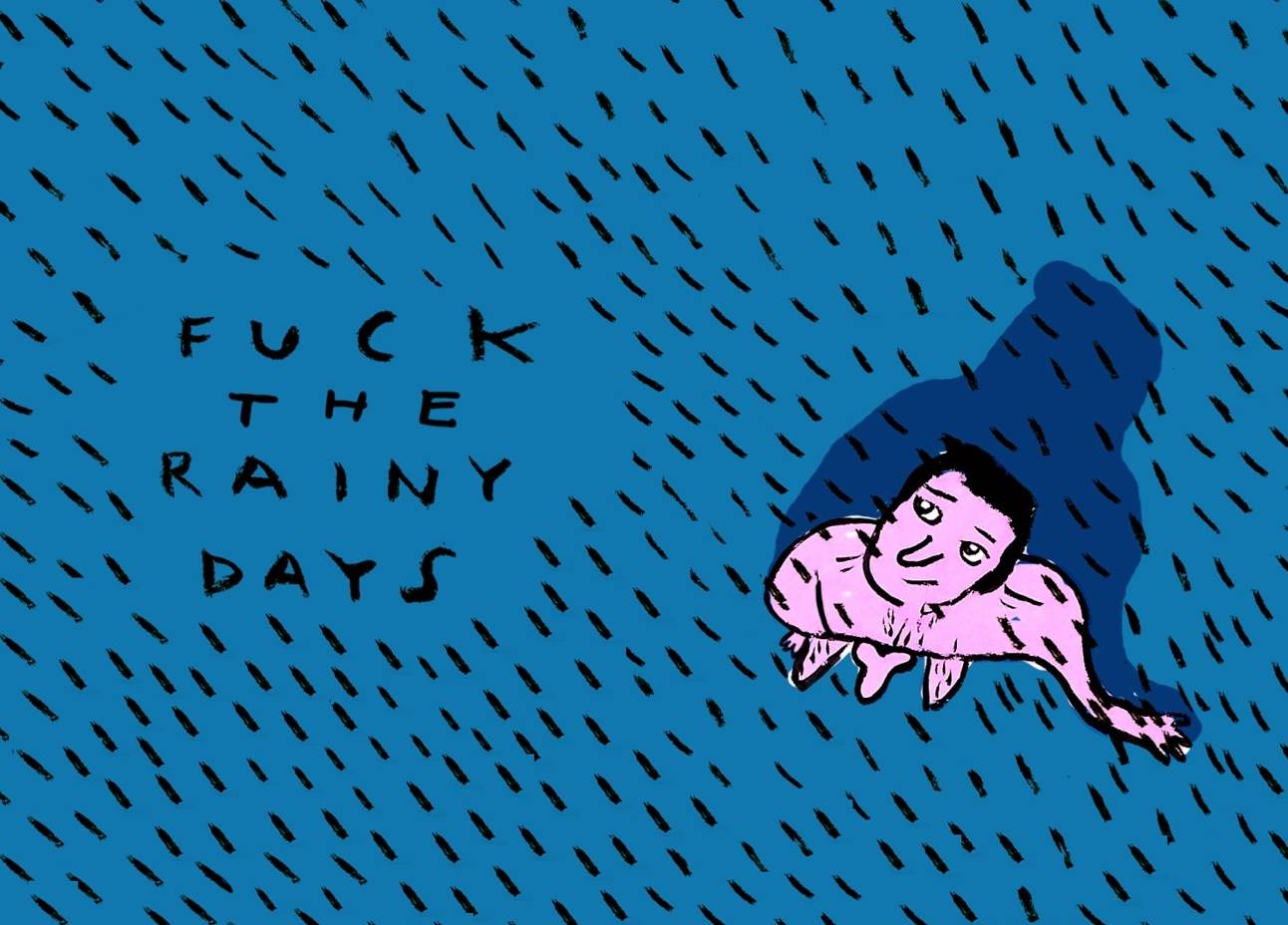 Rainy days, original Body Printing Drawing and Illustration by Shut Up  Claudia