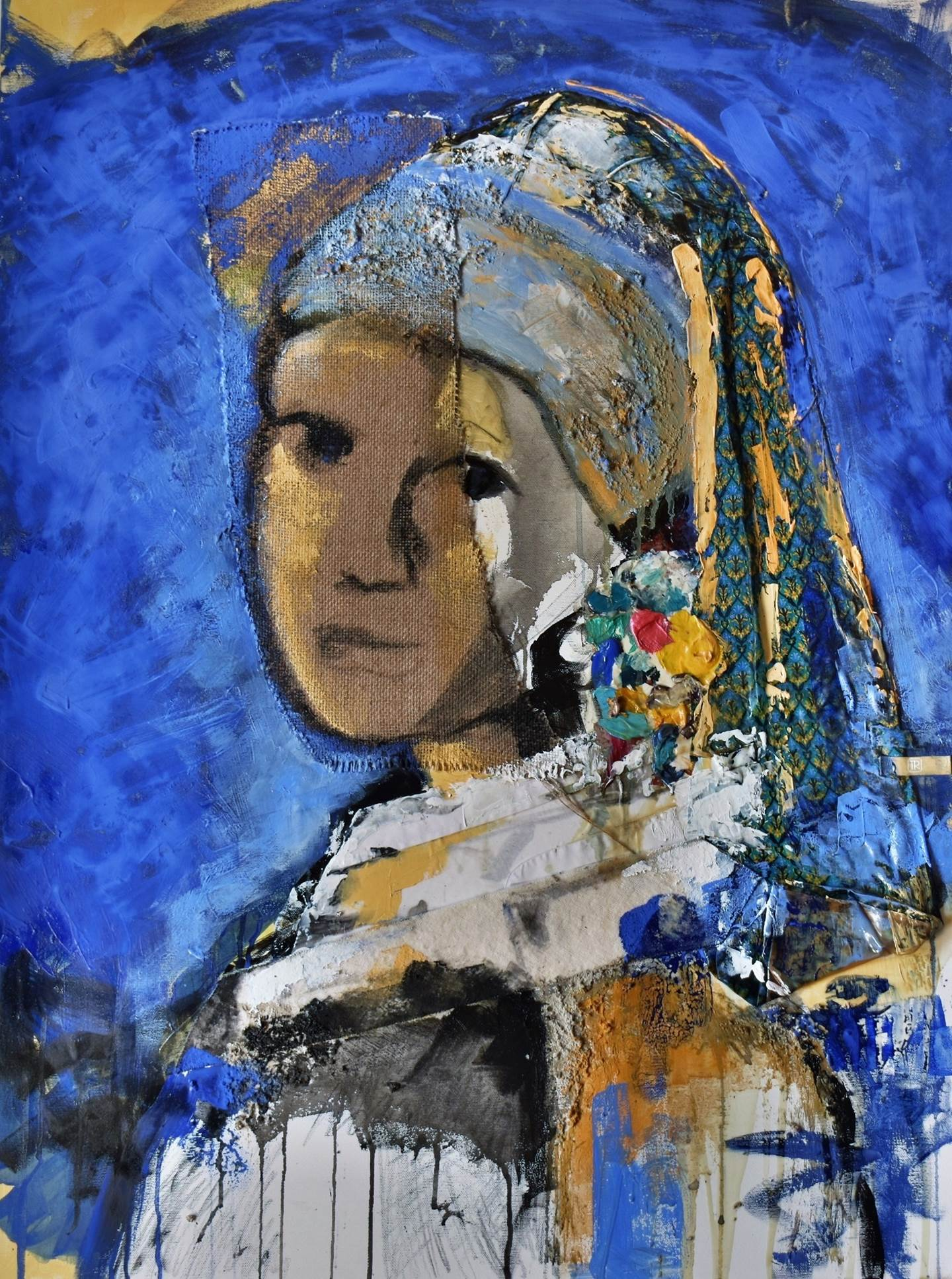 Girl With Color Earring, original   Painting by ELISA  COSTA