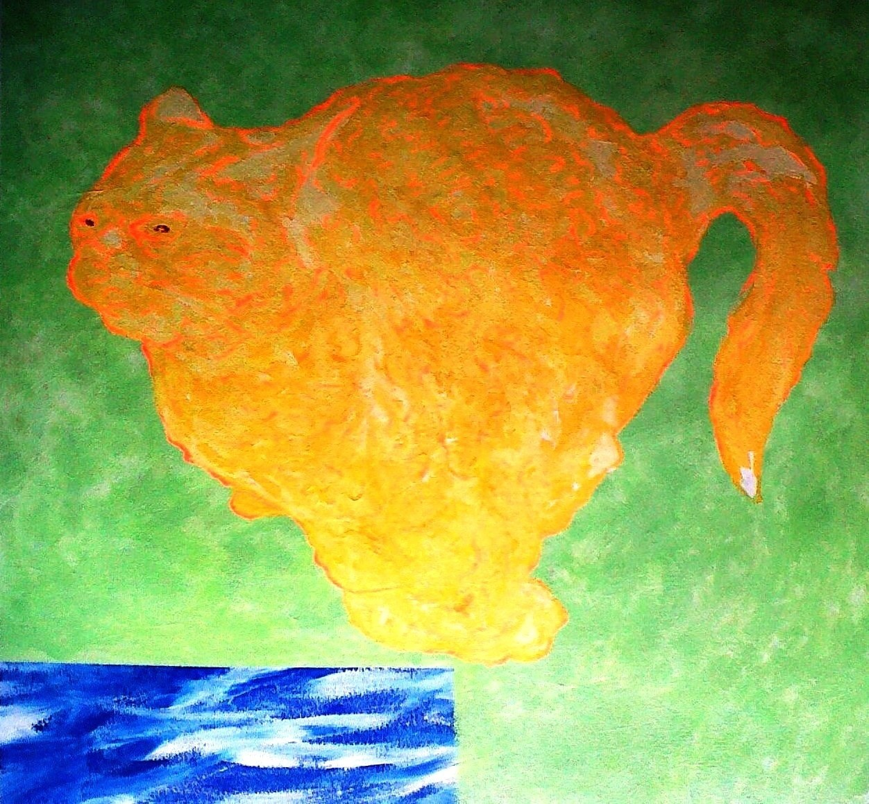 Water Cat, original Animals Acrylic Painting by Toze Figueiredo