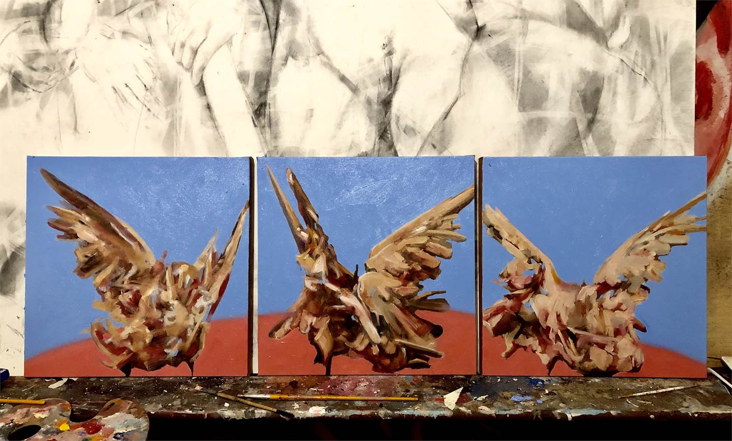 Fighting Doves (triptych), original Abstract Oil Painting by Juan Domingues