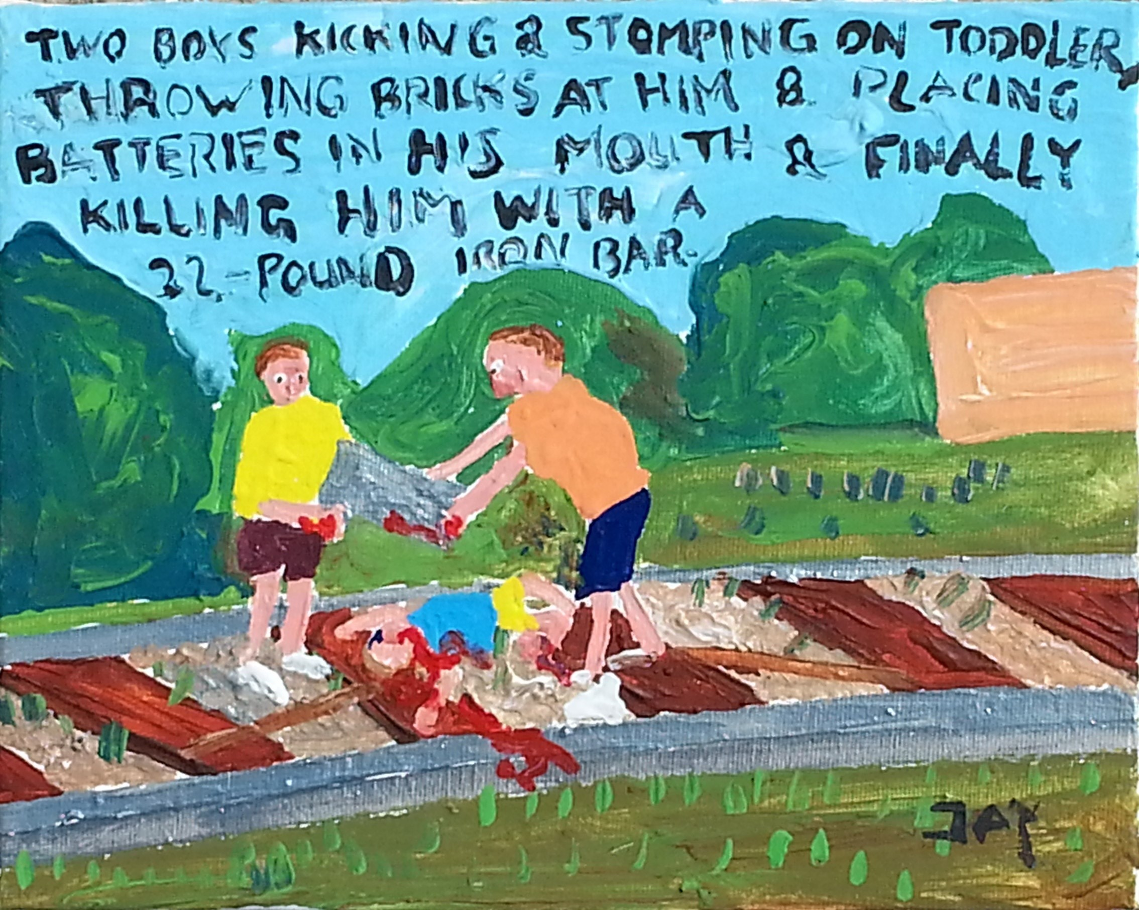 Bad Painting number 14: Two boys kicking and stomping on toddler, throwing bricks at him & placing batteries in his mouth & finally killing him with a 22 pound iron bar, Pintura Acrílico Corpo original por Jay Rechsteiner