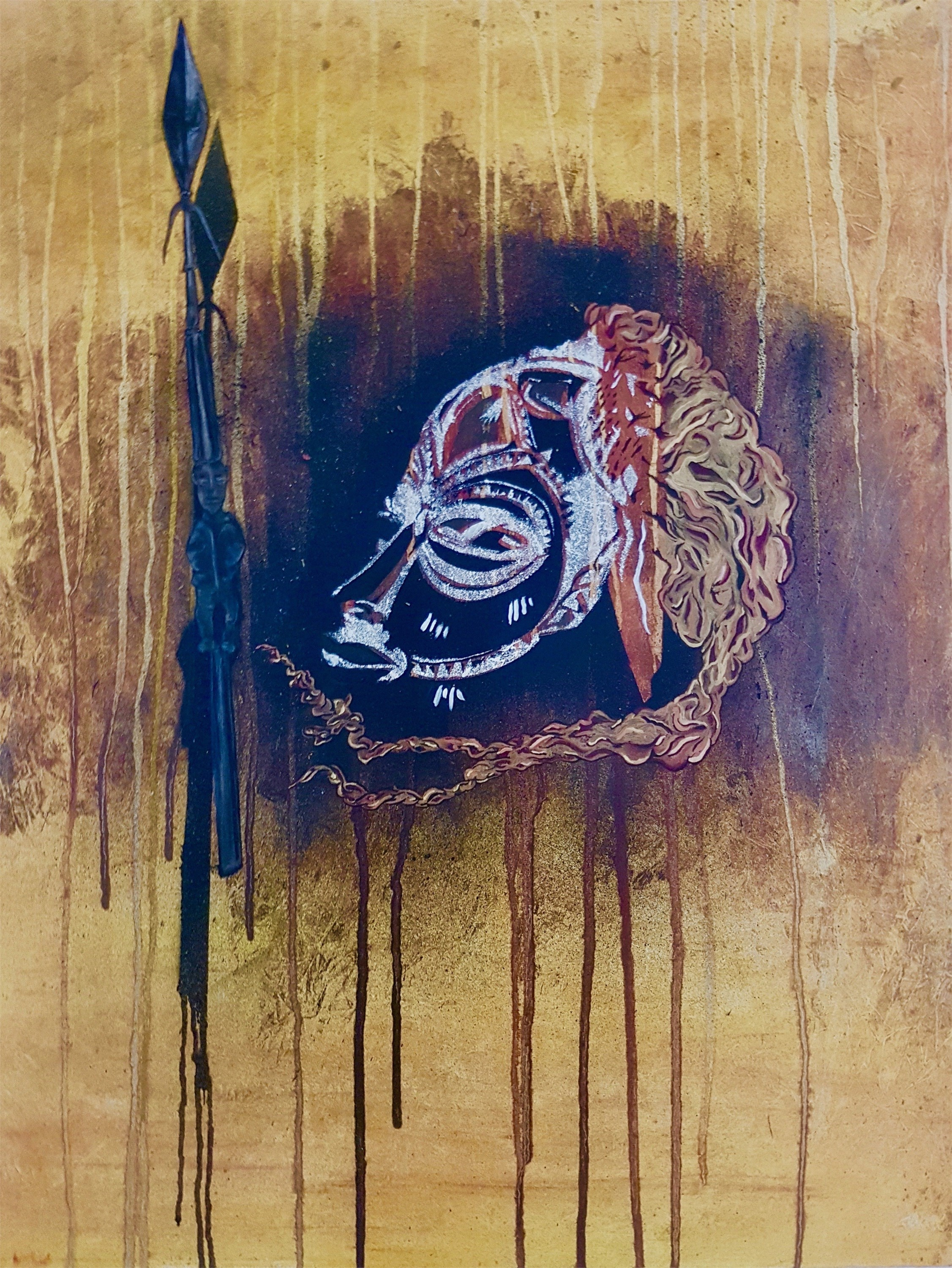 Chokwe Mask (Angola), original Abstract Canvas Painting by Andrea Pinto (Art Sauvage)