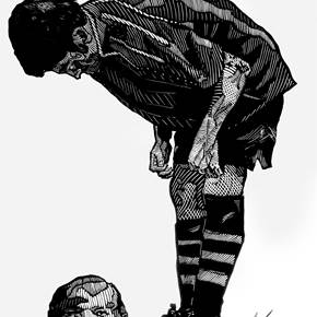 Tiro Penal, original B&W Woodcut Drawing and Illustration by Humberto Valdez