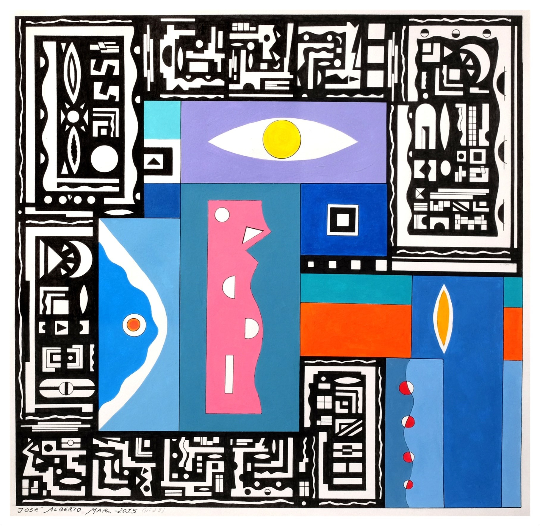 SERIES: SMALL WISDOMS (Nº 28). SÉRIE: PEQUENAS SABEDORIAS (Nº28), original Geometric Acrylic Painting by José Alberto Mar