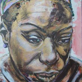 Africa, original Portrait Acrylic Painting by Manecas  Camelo