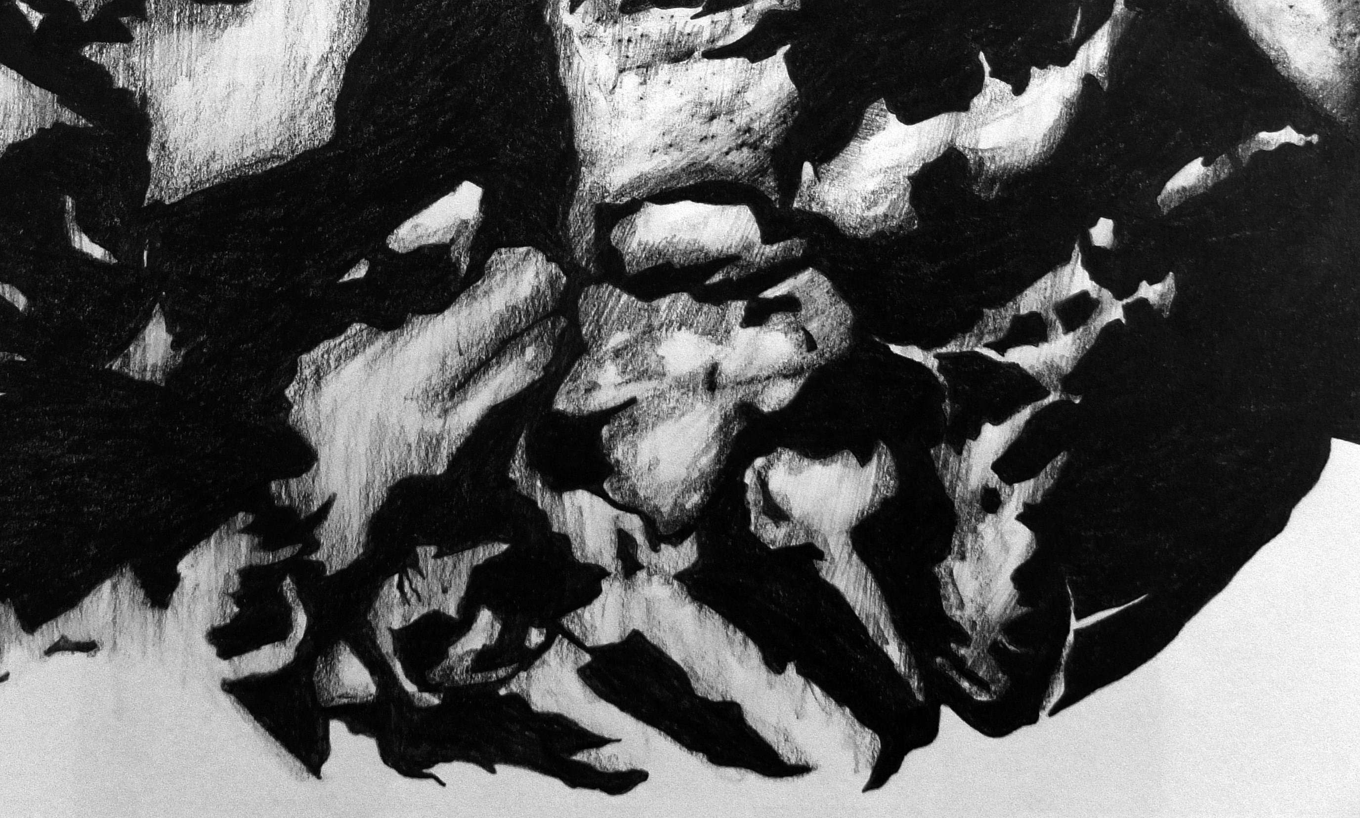 Rocha#3, original Abstract Charcoal Drawing and Illustration by Mariana Alves