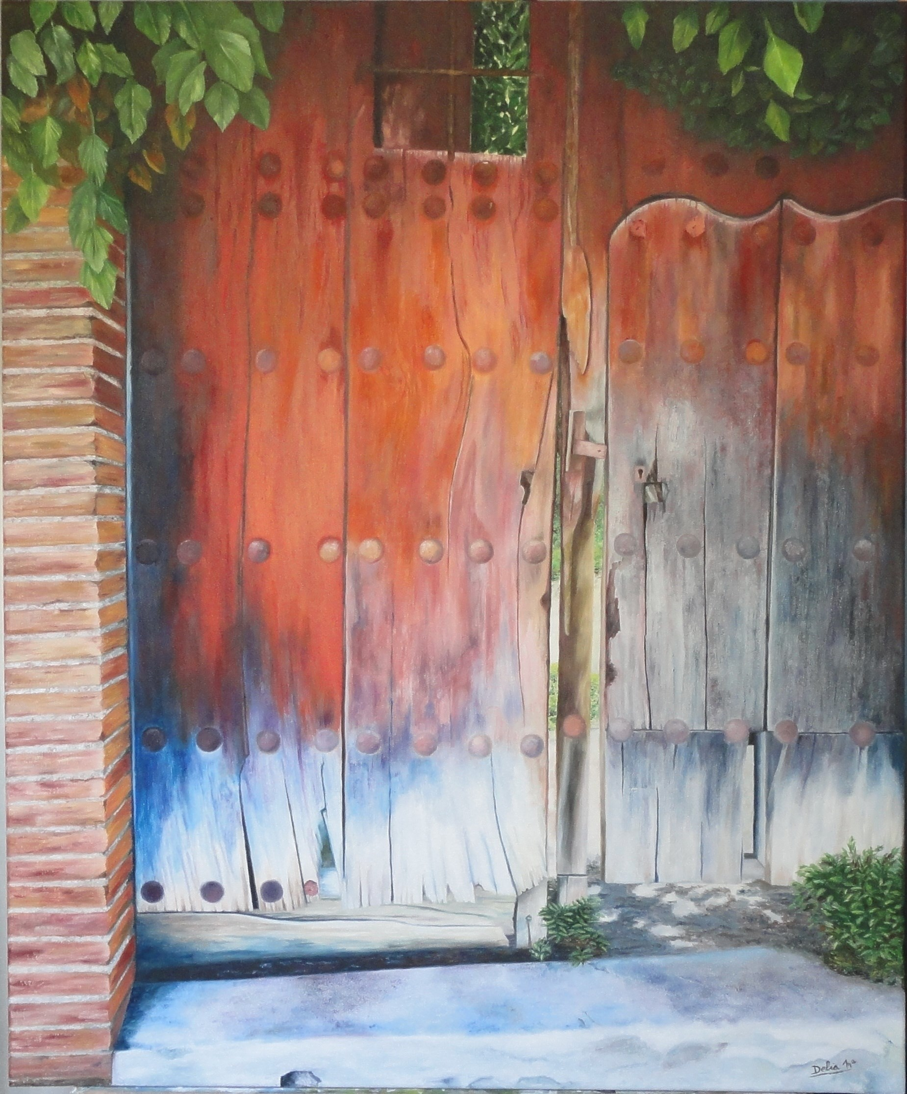 PUERTA DEL MAYORAZGO, original Places Canvas Painting by DELIA MARIA DELGADO GARCIA