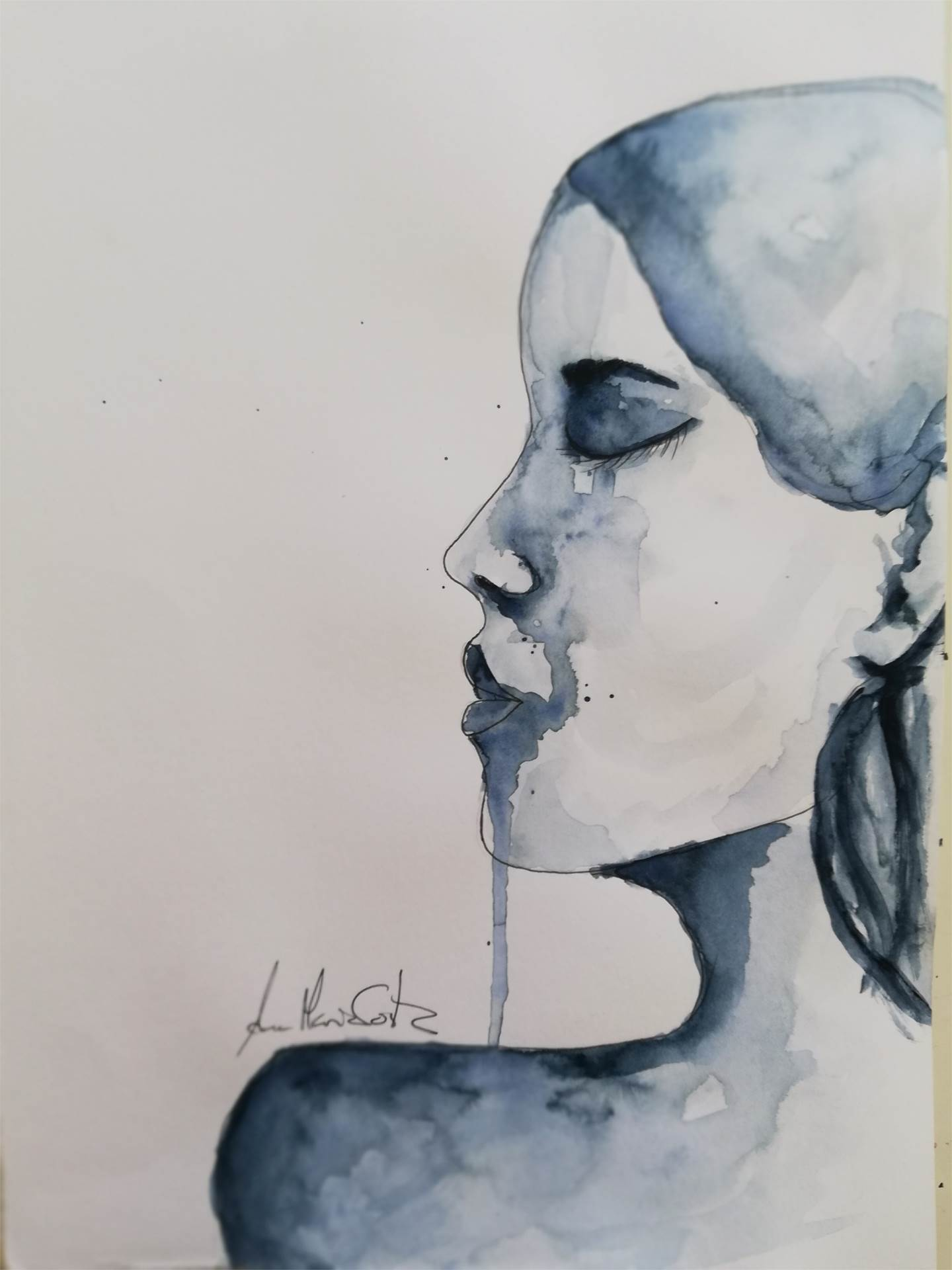 """I'm just an outlier"" , original Human Figure Watercolor Drawing and Illustration by Ana Maria Costa"