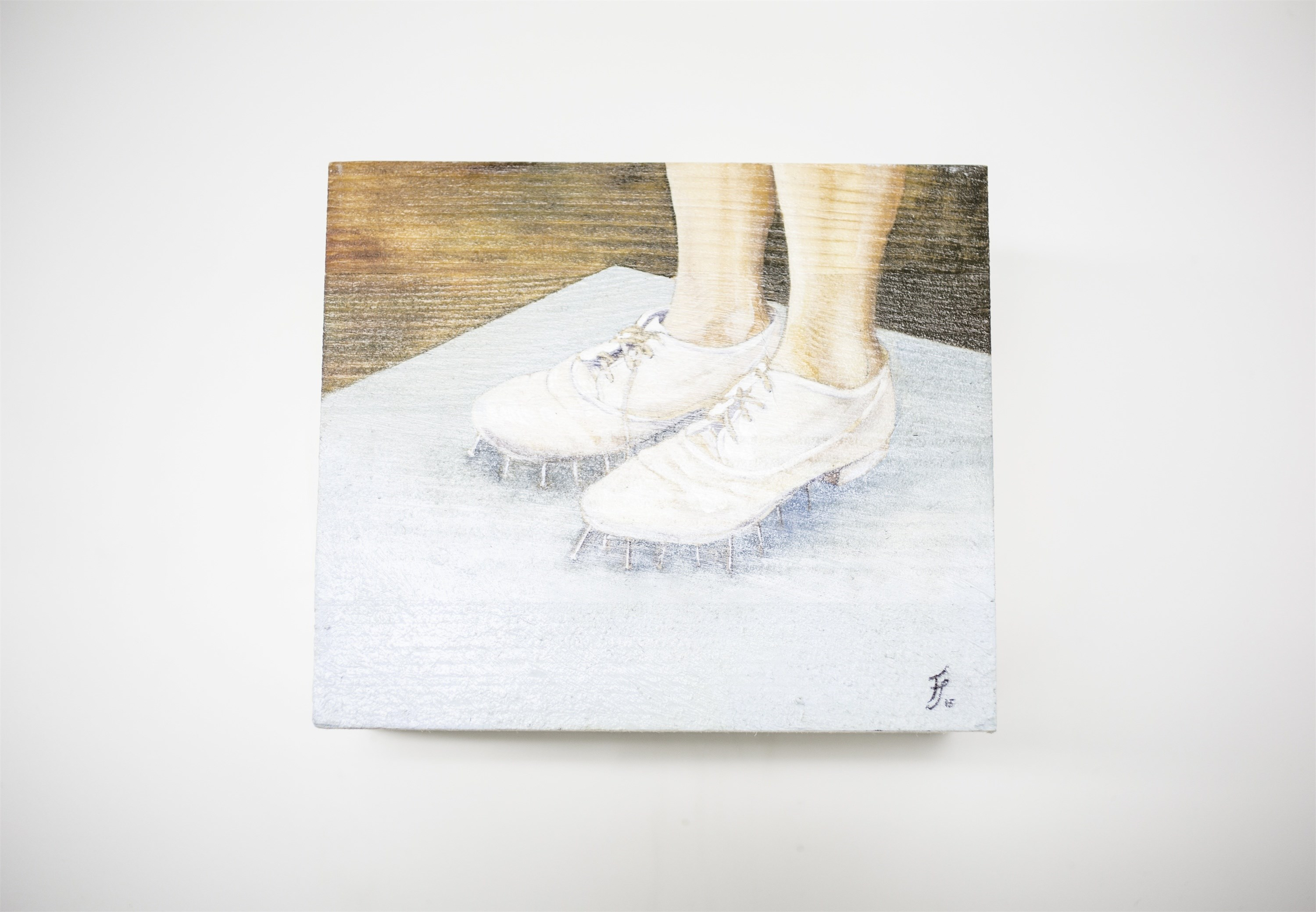 Self-defense Shoes, original Body Wood Painting by Francisca  Sousa