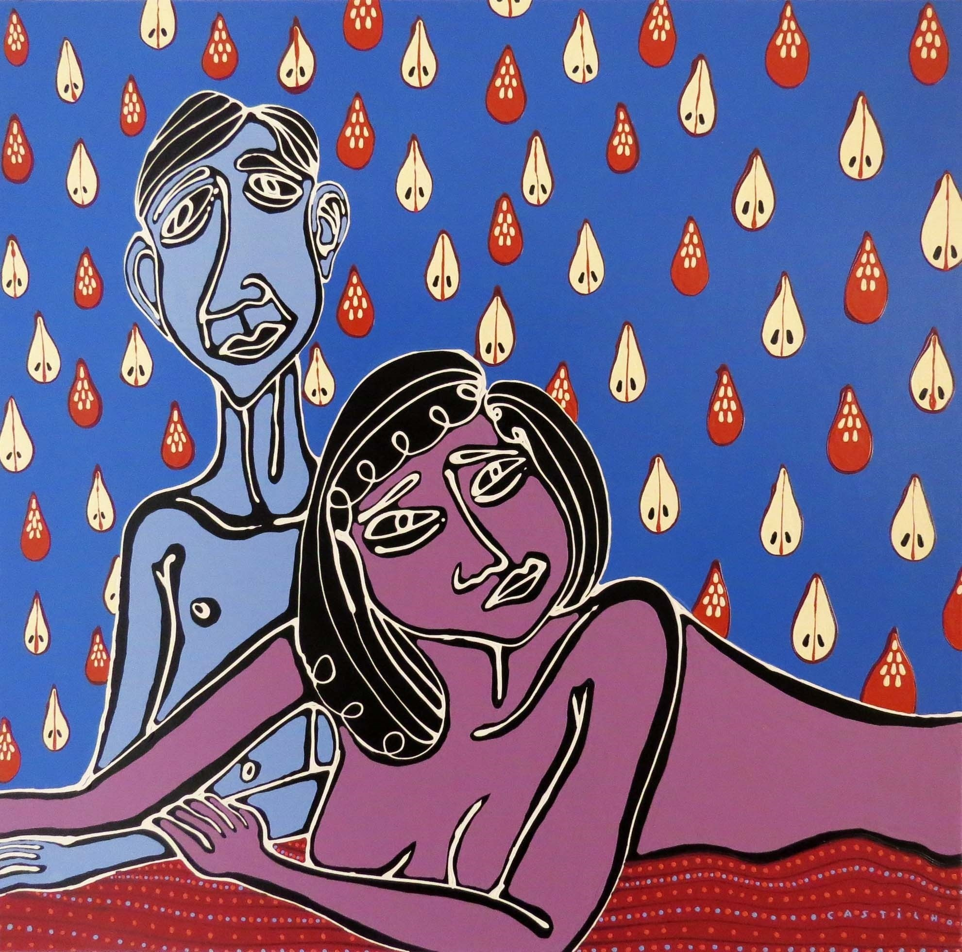 Casal na cama, original Abstract Acrylic Painting by Hugo Castilho