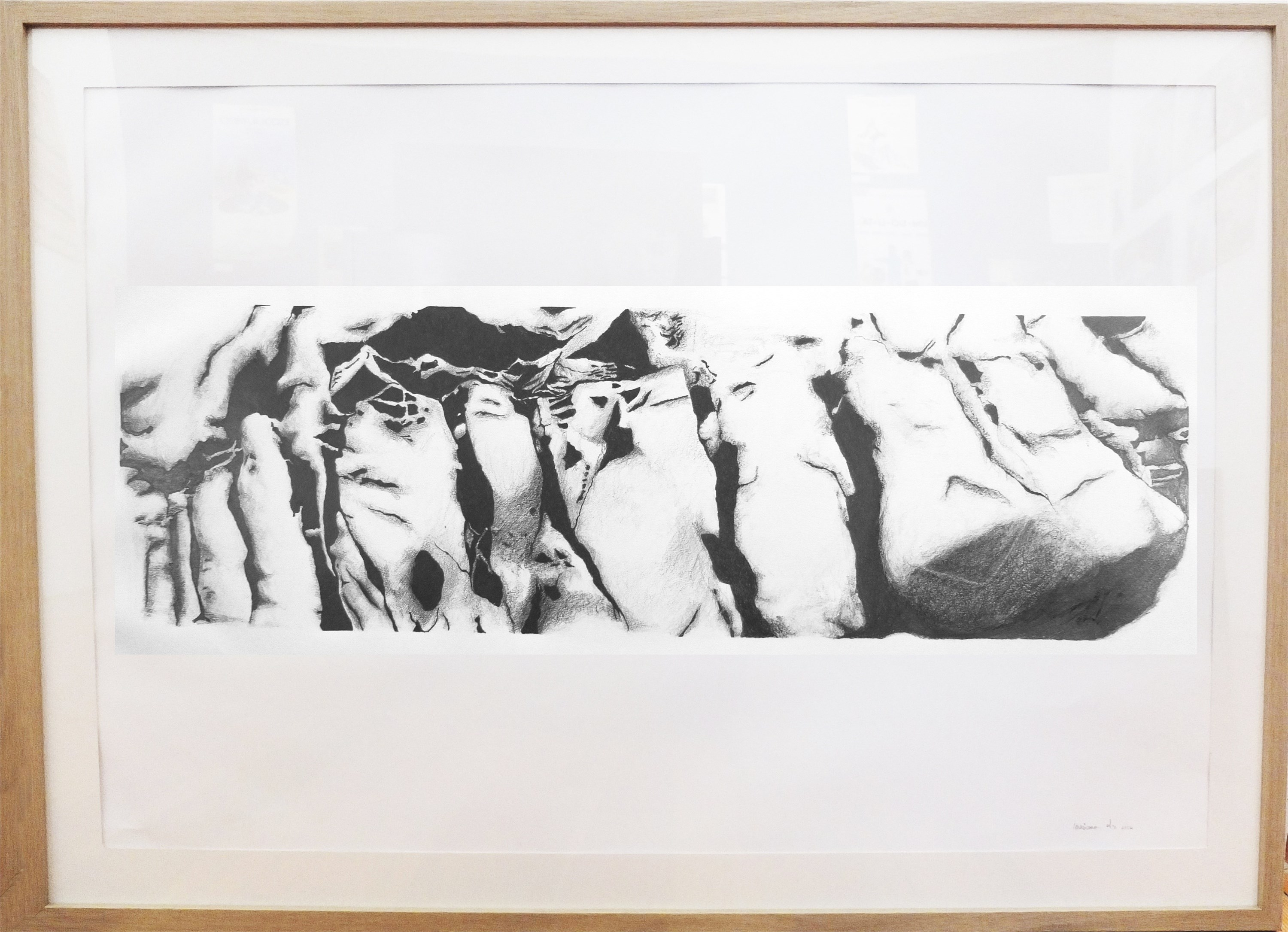 Rocha #1, original Big Charcoal Drawing and Illustration by Mariana Alves