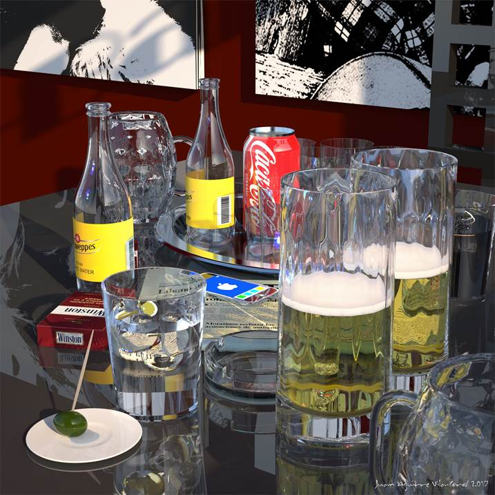 CERVEZAS, original Still Life Digital Painting by juan aguirre