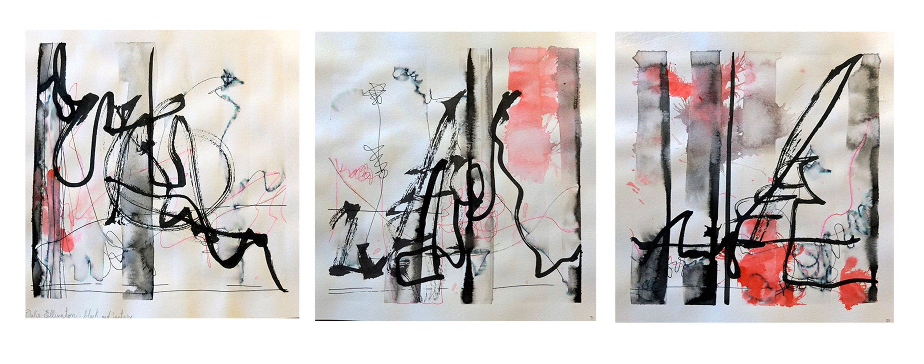 Duke Ellington - Black and Fantasy (I,II,III), original Abstract Gouache Painting by Mariana Alves