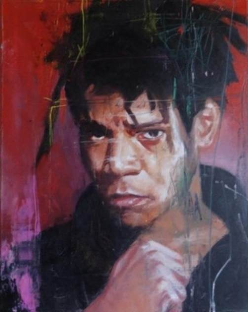 Jean Michel Basquiat, original Human Figure Oil Painting by Ricardo Gonçalves