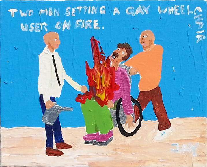 Bad Painting number 07: Two men setting a gay wheelchair user on fire, original Human Figure Acrylic Painting by Jay Rechsteiner