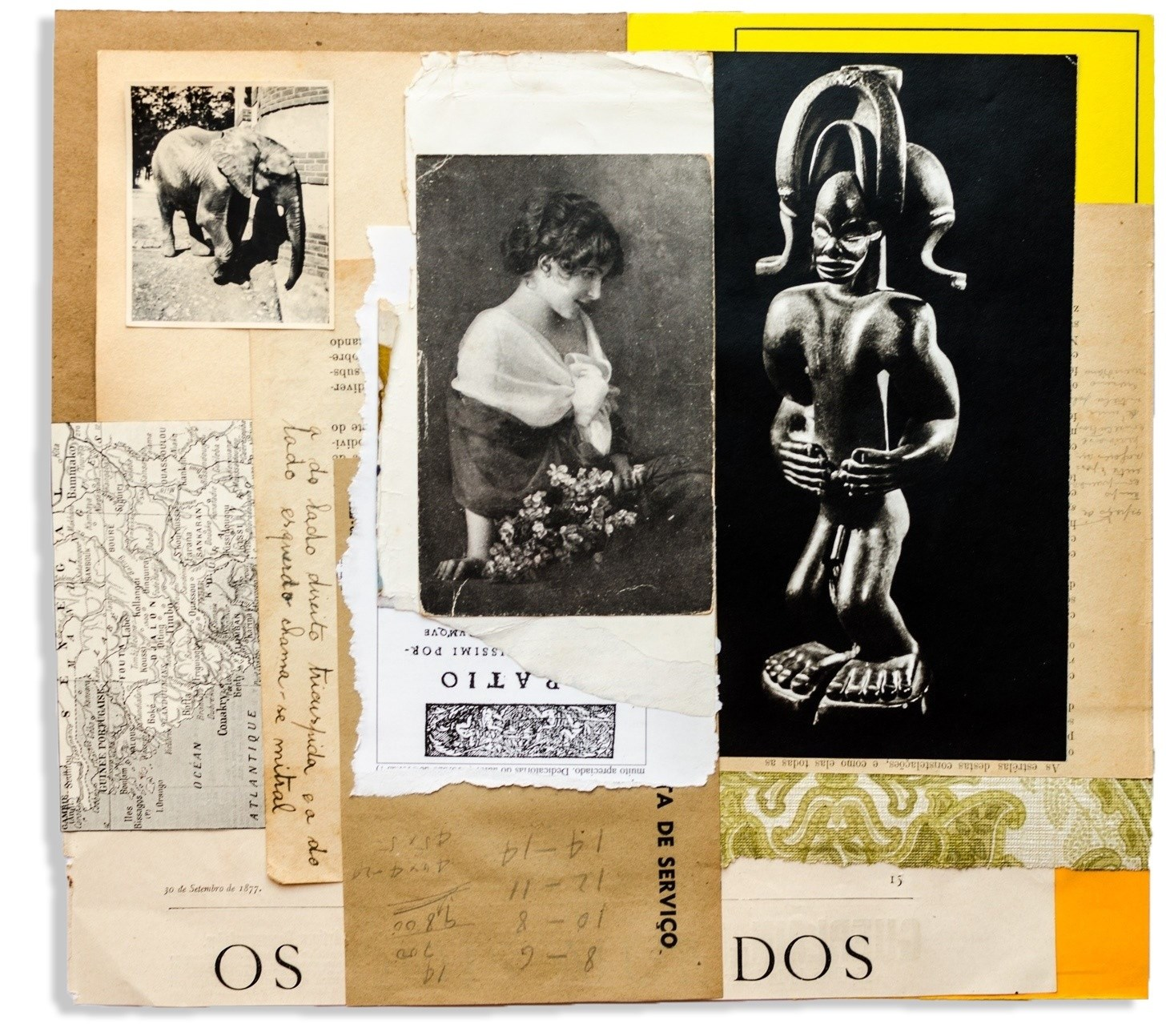 Elas III, original Small Collage Drawing and Illustration by Ramón Peralta