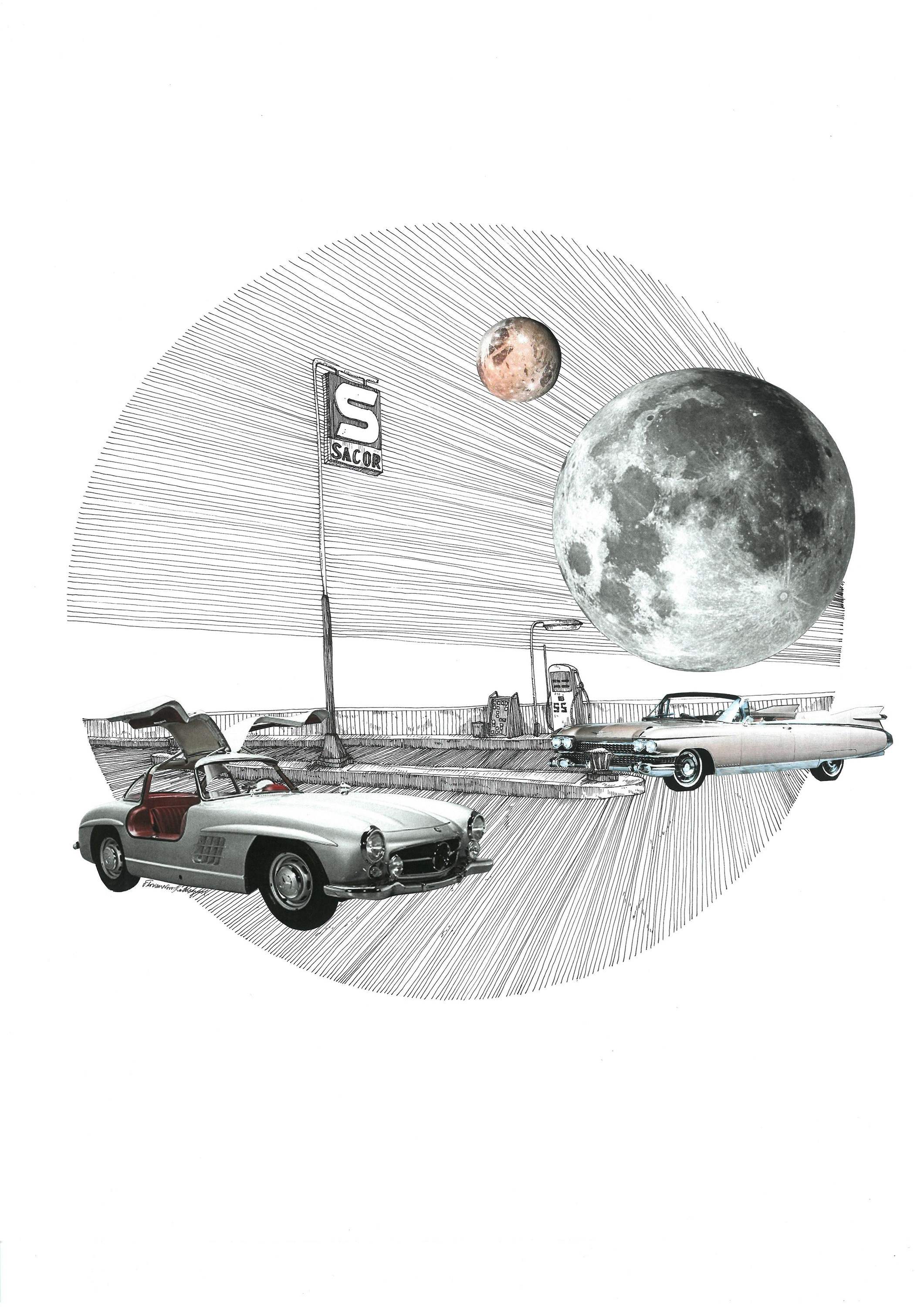 Cadillac El Dorado, original Architecture Collage Drawing and Illustration by Florisa Novo Rodrigues