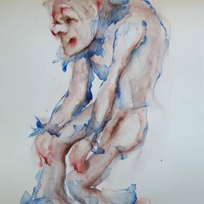 Homem bobo, original Man Watercolor Painting by Adelaide Morgado