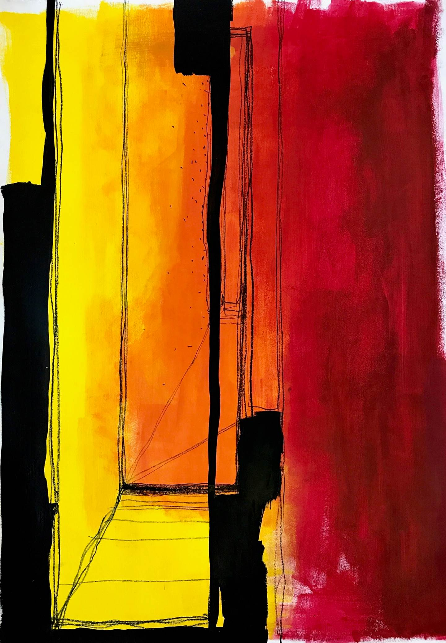 AROUND HERE #1, original Abstract Acrylic Painting by Ana Bonifácio
