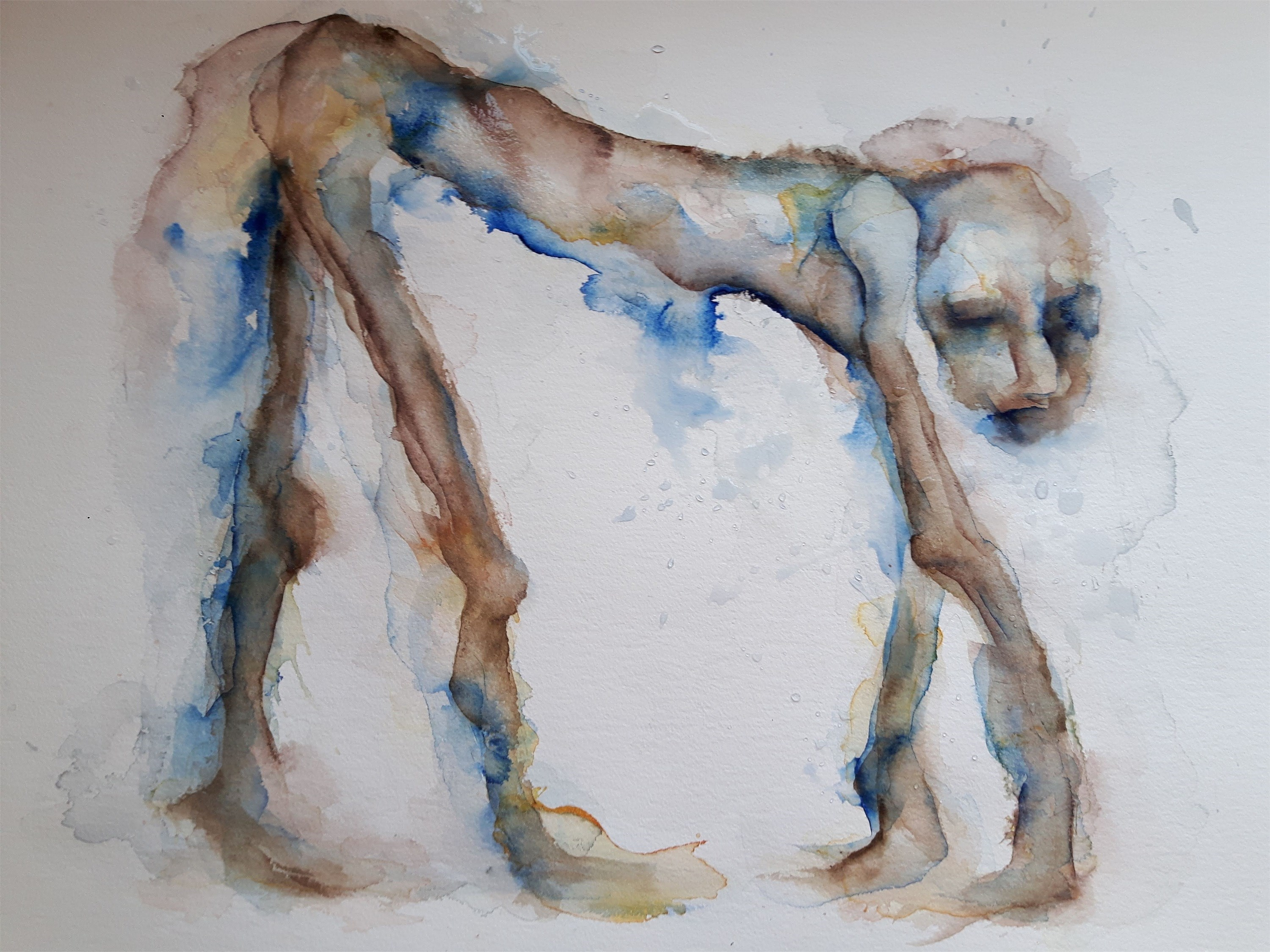 Homem cão, original Man Watercolor Painting by Adelaide Morgado