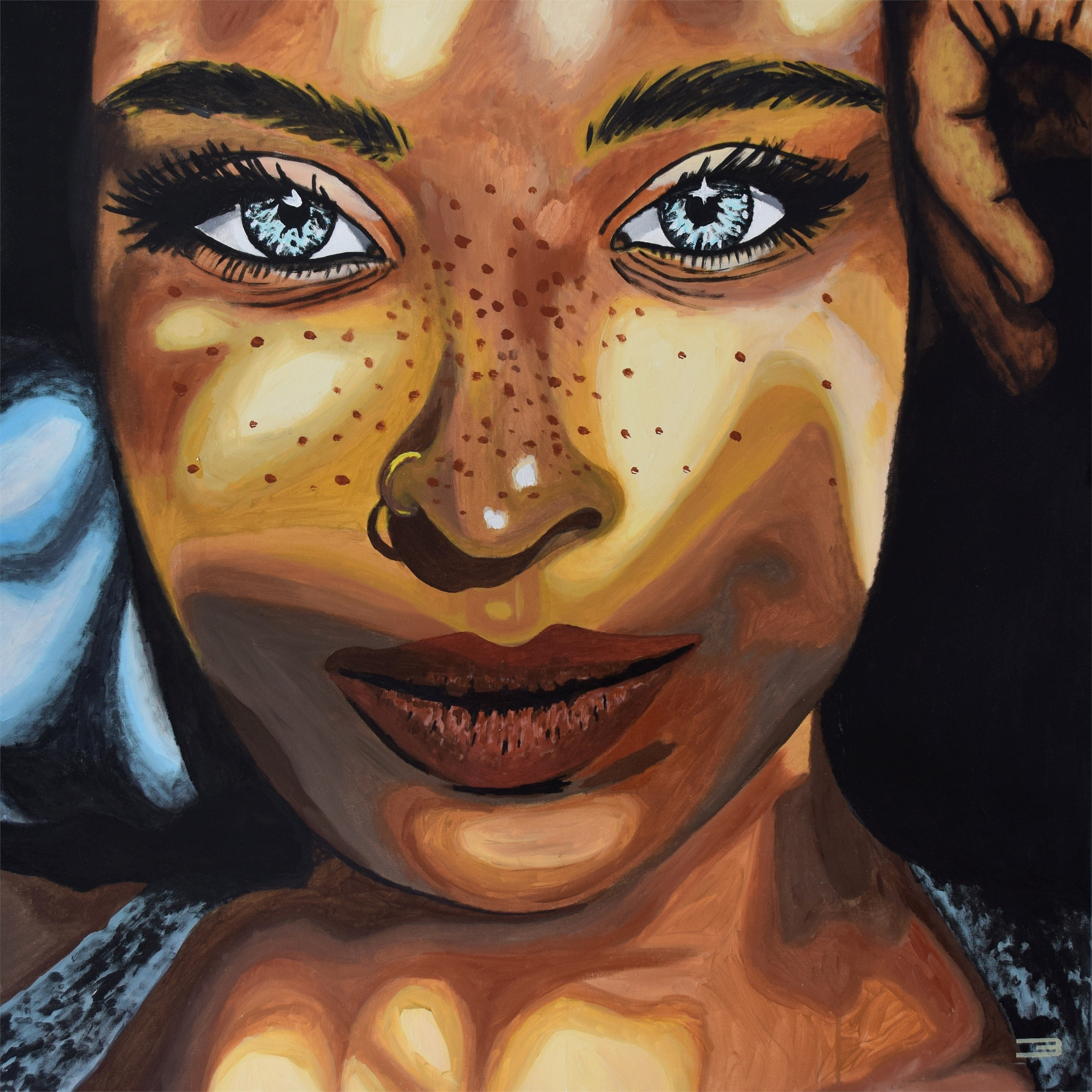 The girl with the golden piercing, original Woman Acrylic Painting by Eduardo Bessa