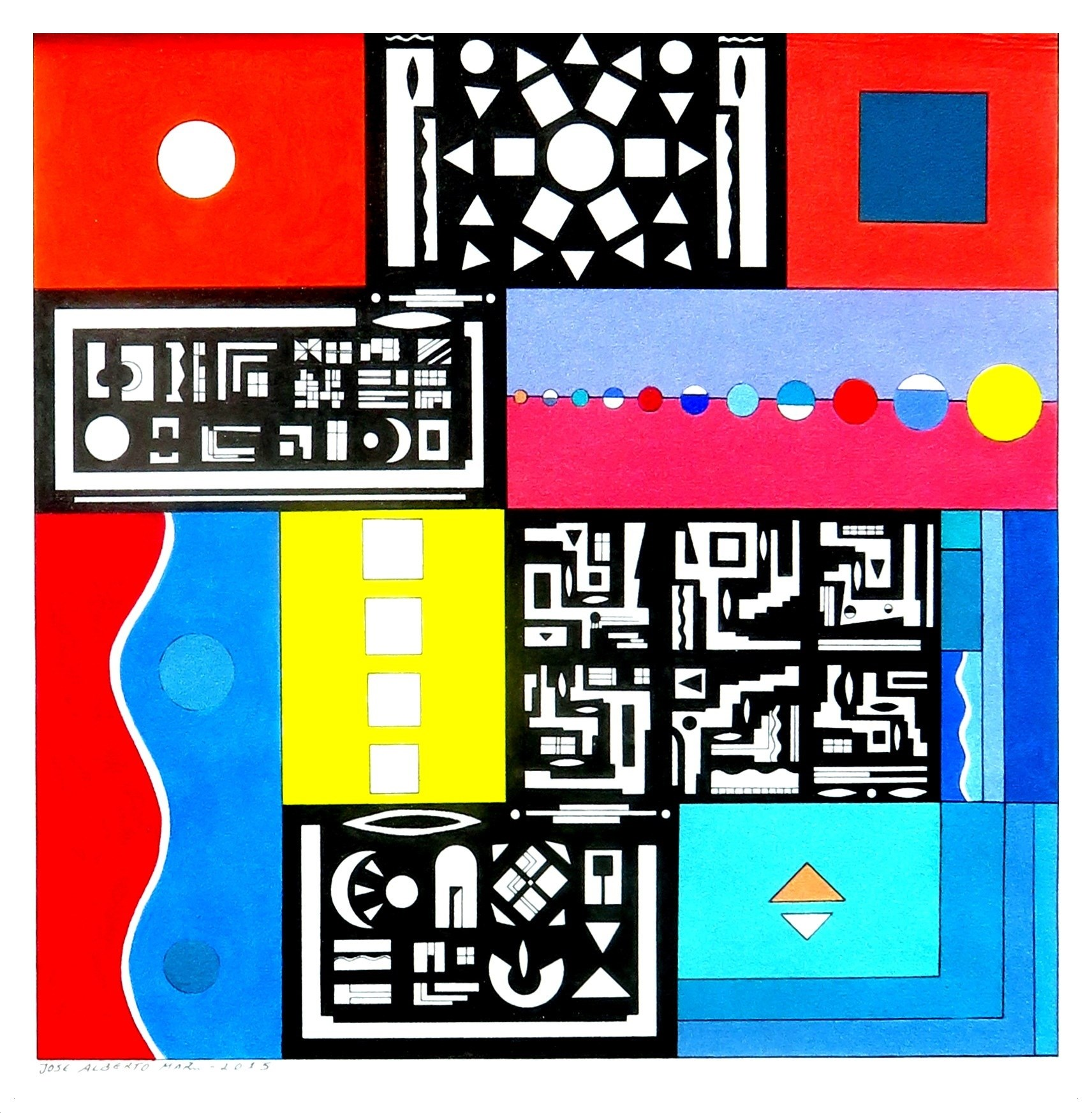 SERIES: SMALL WISDOMS (Nº 18). SÉRIE: PEQUENAS SABEDORIAS (Nº18), original Geometric Acrylic Painting by José Alberto Mar