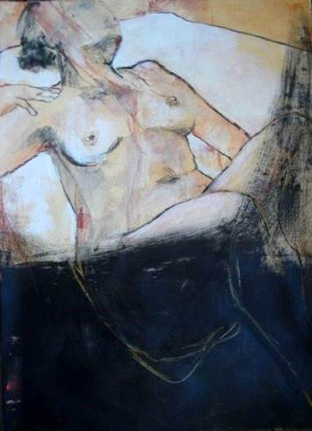 Mon coeur qui bat, original Human Figure Mixed Technique Painting by Mónica de Morais