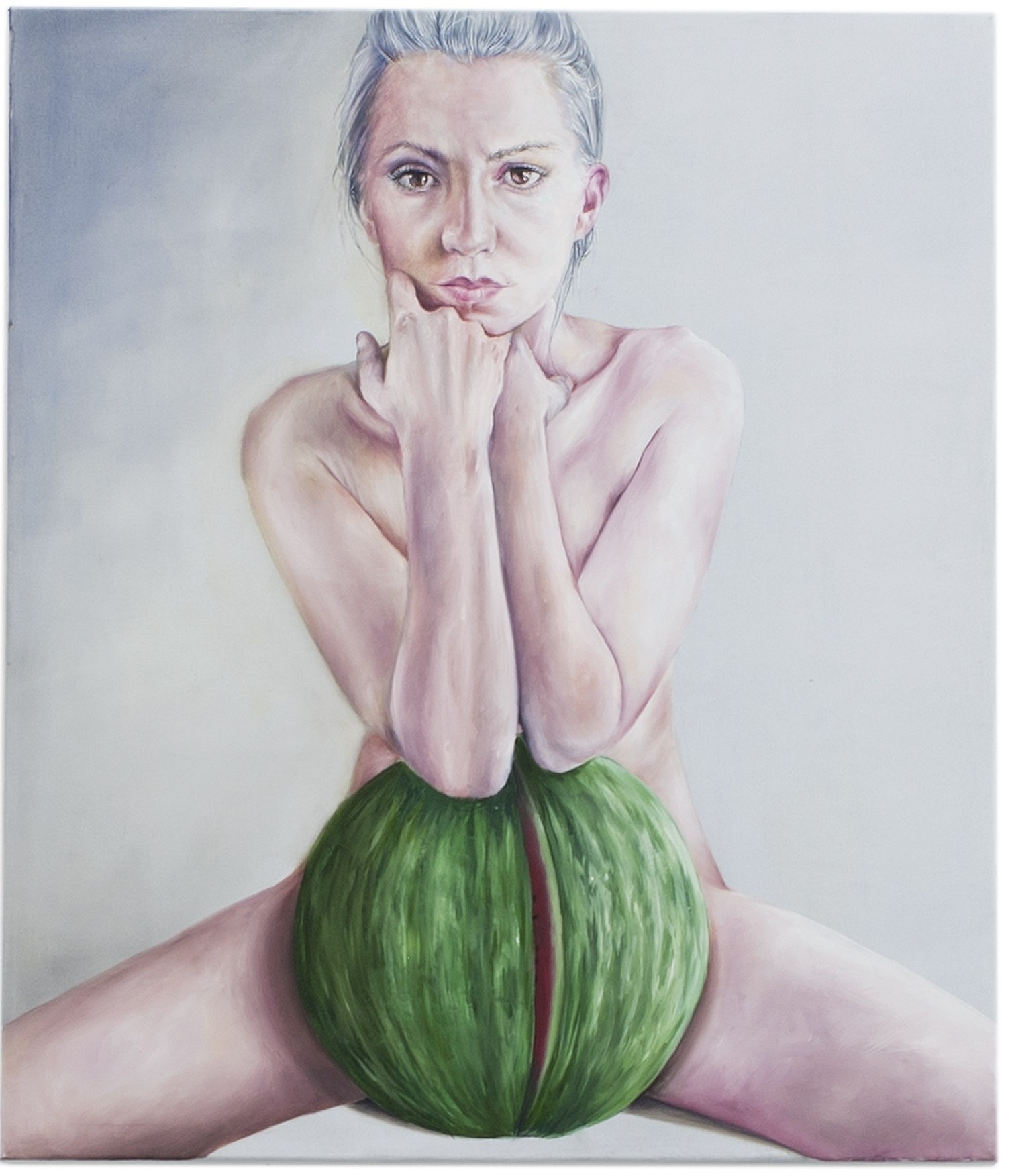 You're feminism bores me I prefer fruit, original Human Figure Oil Painting by Ana  Monteiro