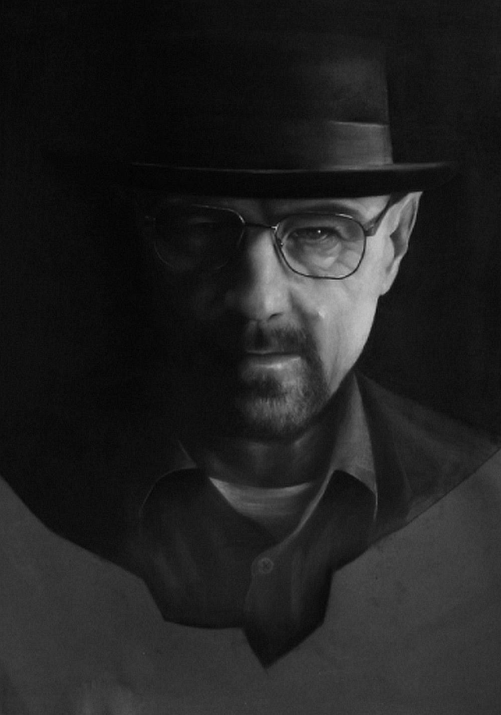 Heisenberg , original B&W Charcoal Drawing and Illustration by Cris D.K.