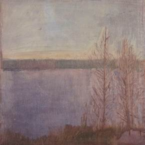 Two trees by a lake in Sweden, original Landscape Oil Painting by Taha Afshar